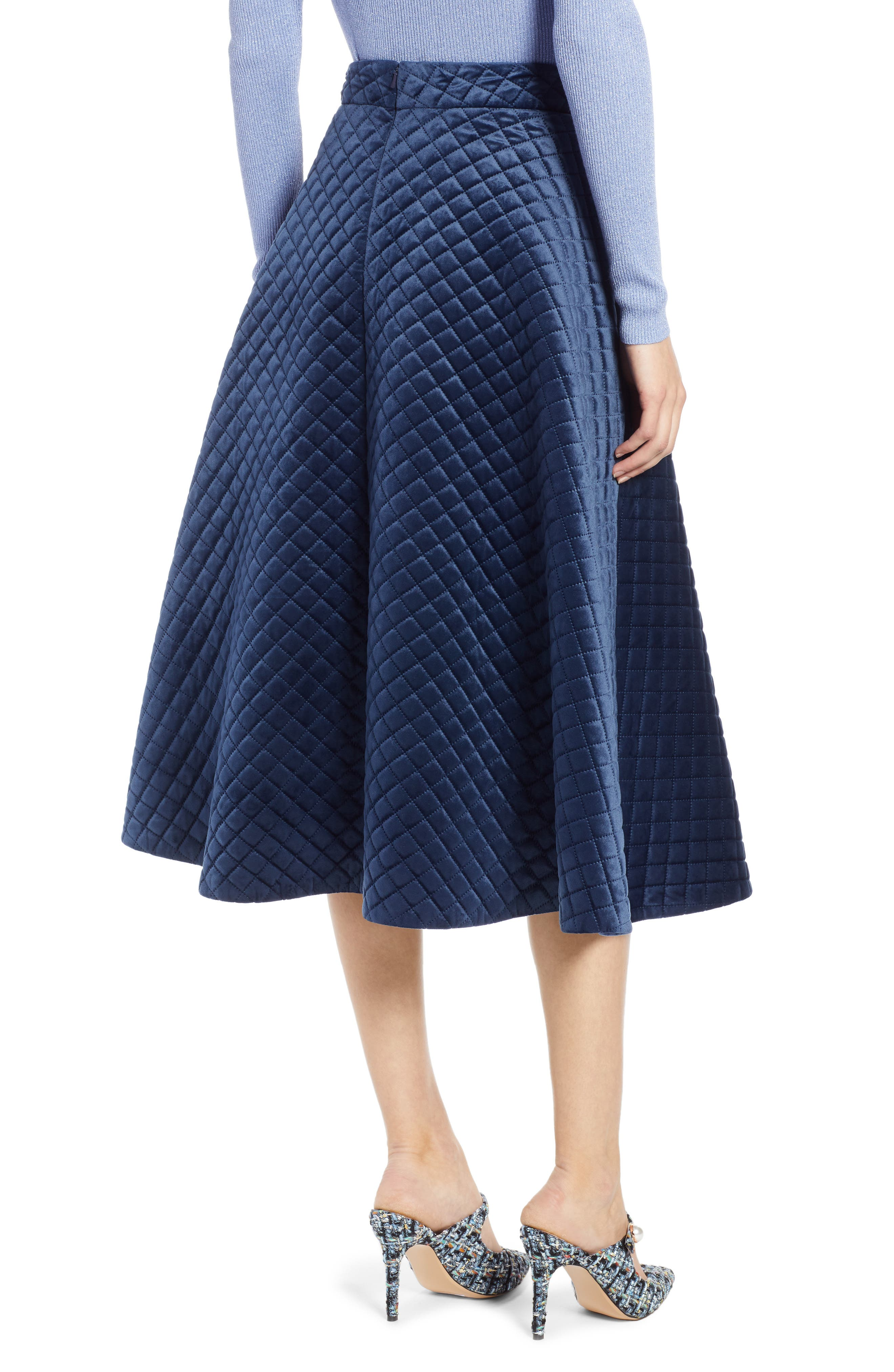 x Atlantic-Pacific Quilted Velour Circle Midi Skirt,                             Alternate thumbnail 3, color,                             NAVY BLAZER