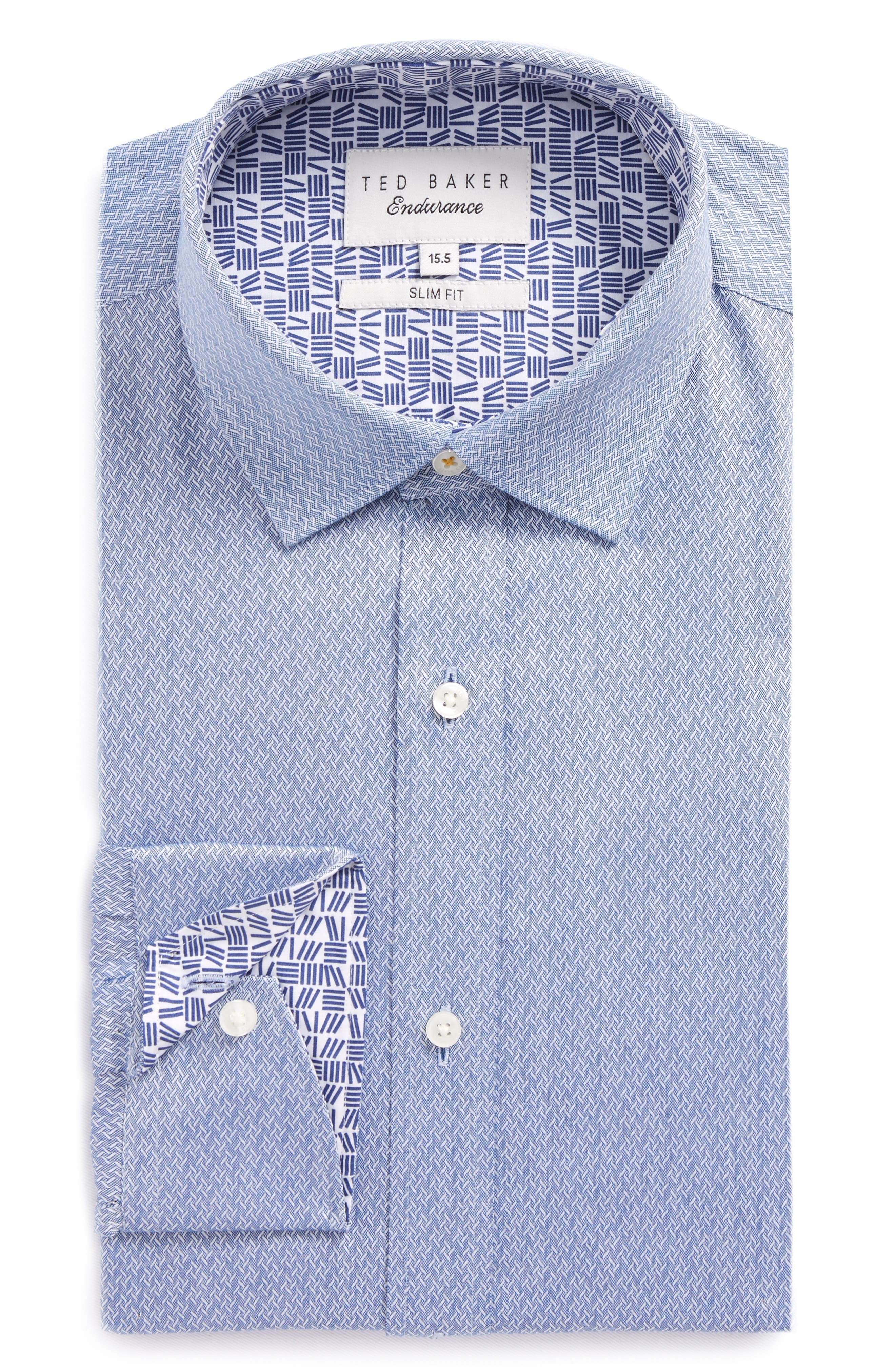 Endurance Driss Slim Fit Geometric Oxford Dress Shirt,                             Main thumbnail 1, color,                             NAVY