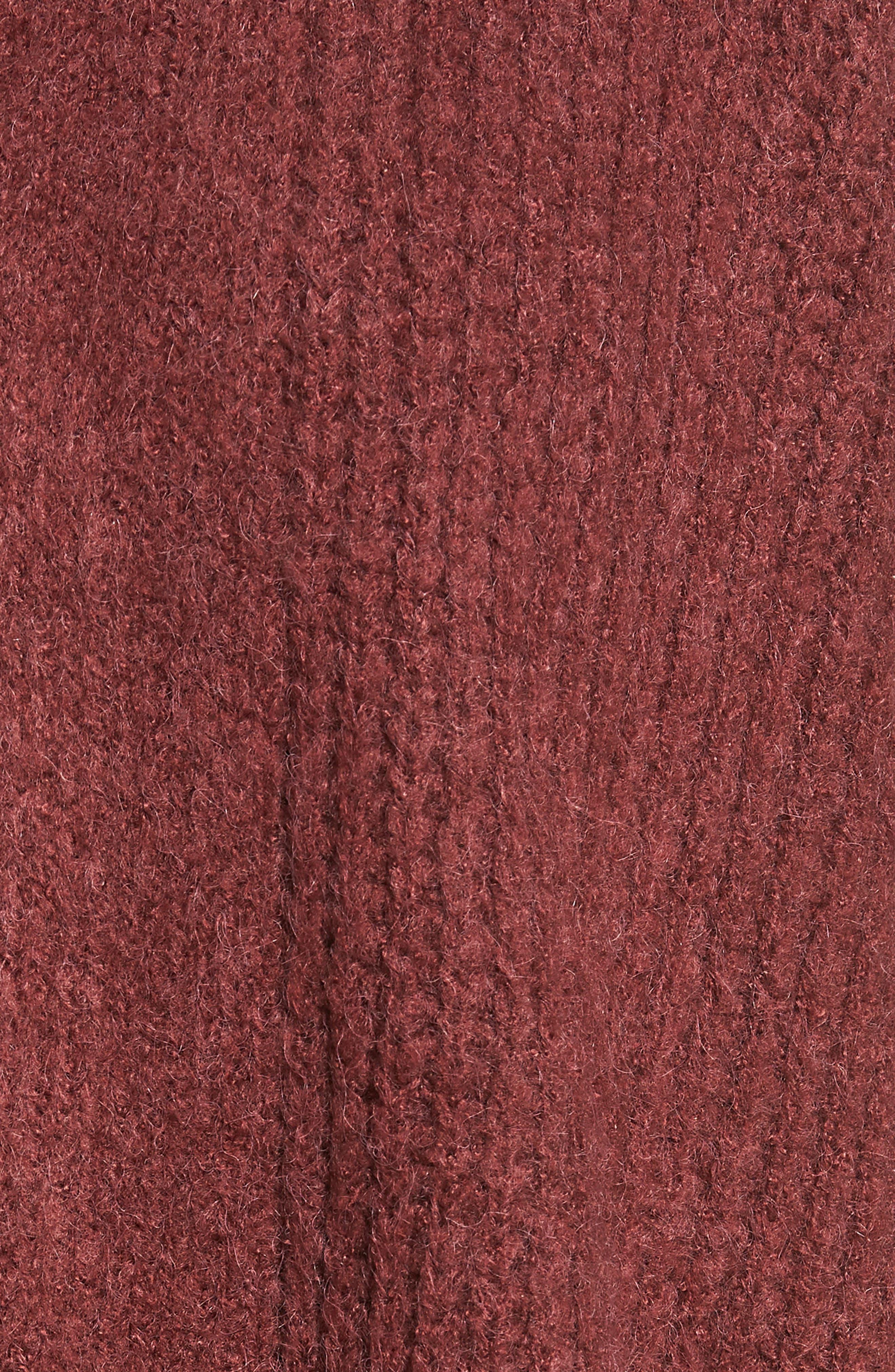 Rib Knit Open Cardigan,                             Alternate thumbnail 5, color,                             DUST PLUM