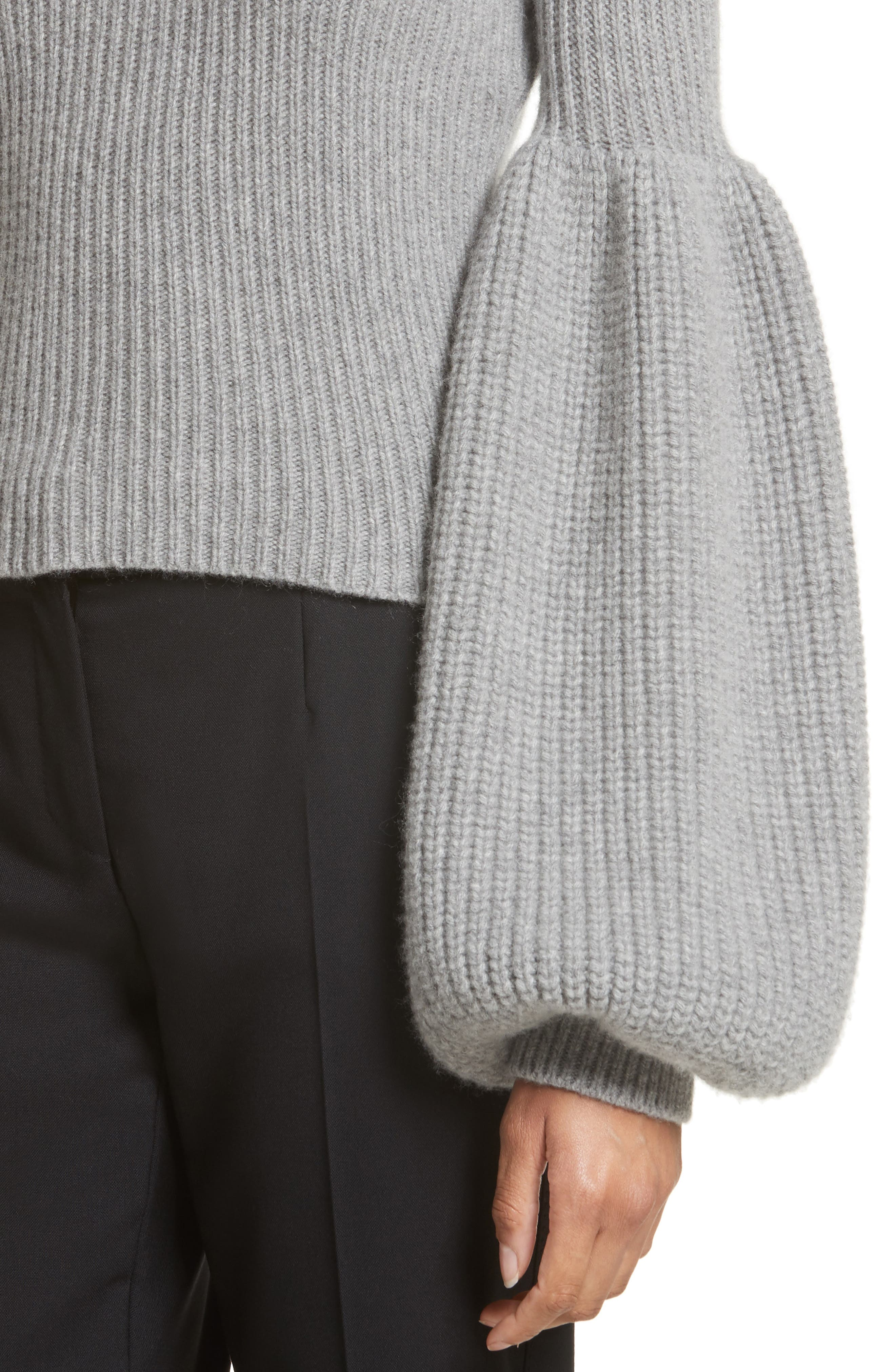 Puff Lantern Sleeve Wool & Cashmere Blend Sweater,                             Alternate thumbnail 4, color,                             020