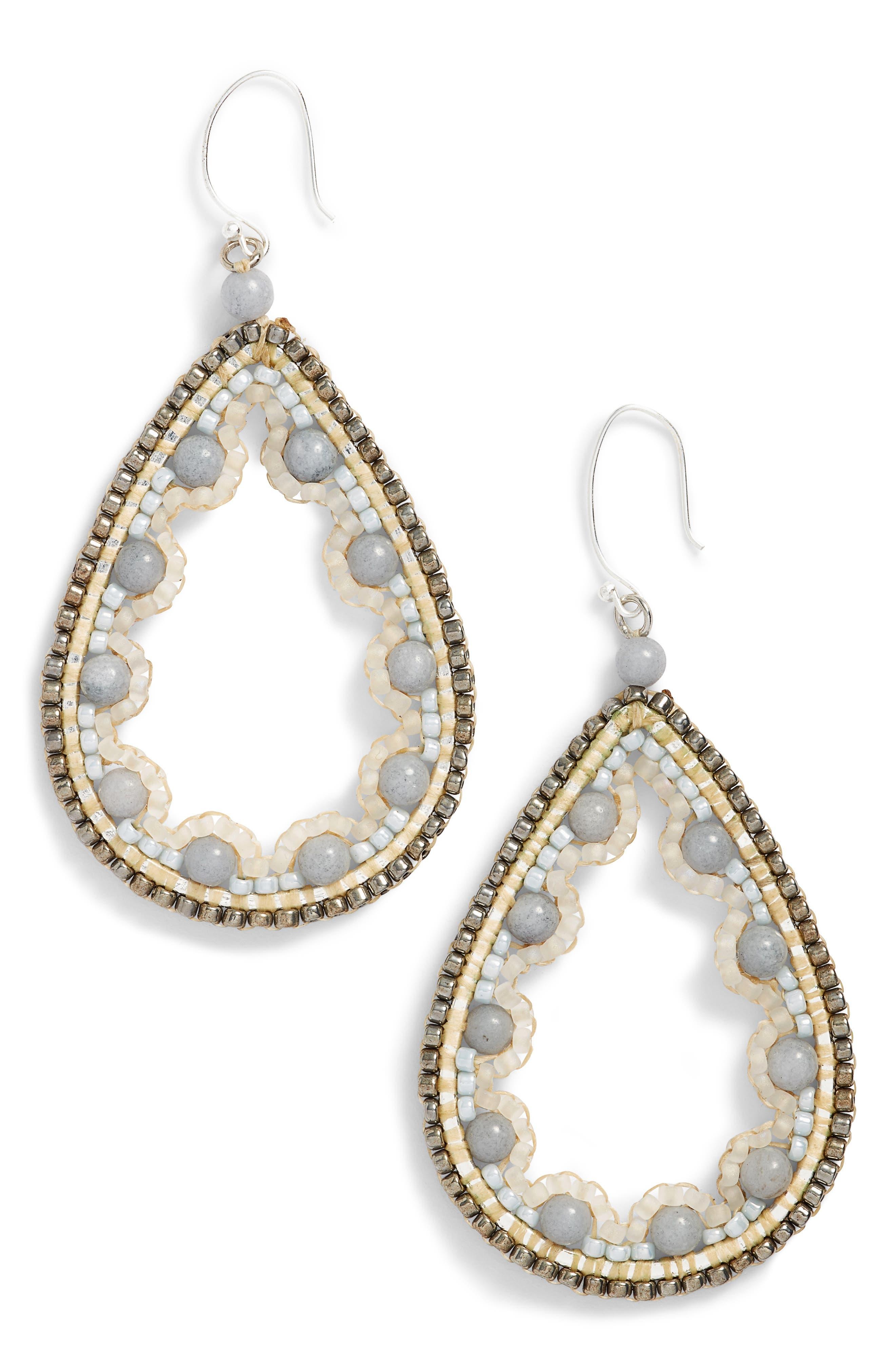 Beaded Agate Teardrop Earrings,                         Main,                         color, 100