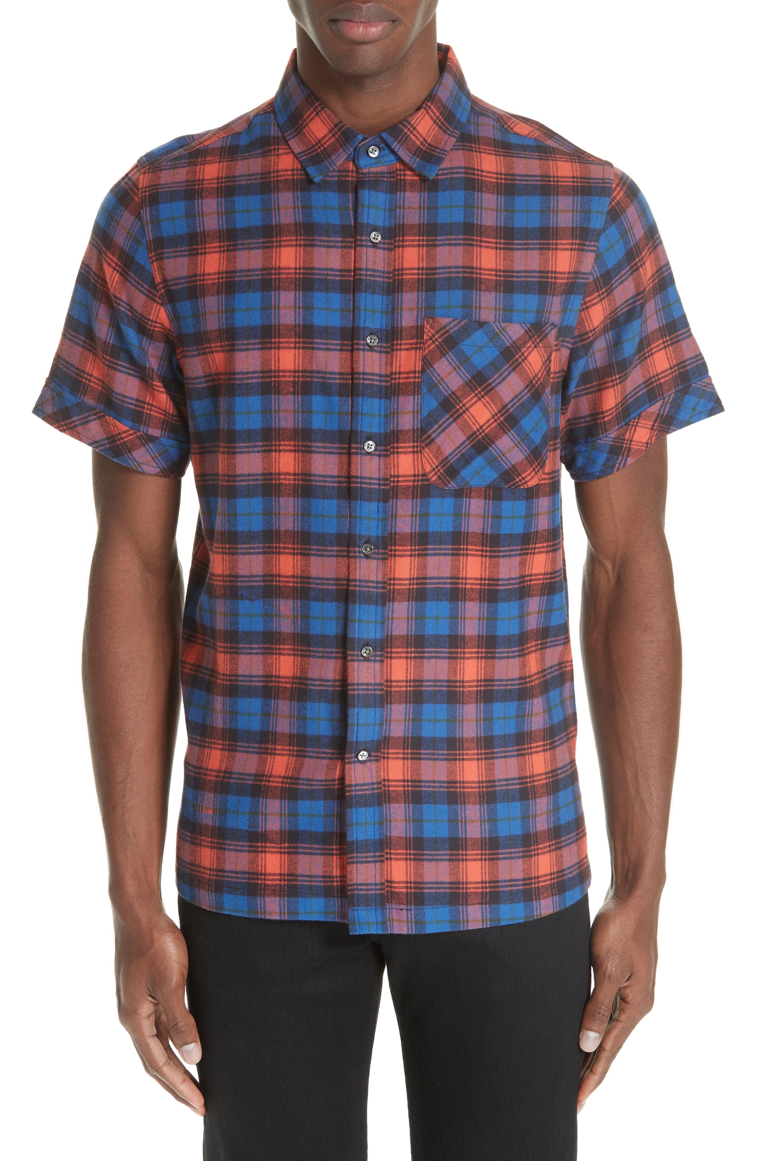 Plaid Flannel Camp Shirt,                         Main,                         color, BLUE PLAID