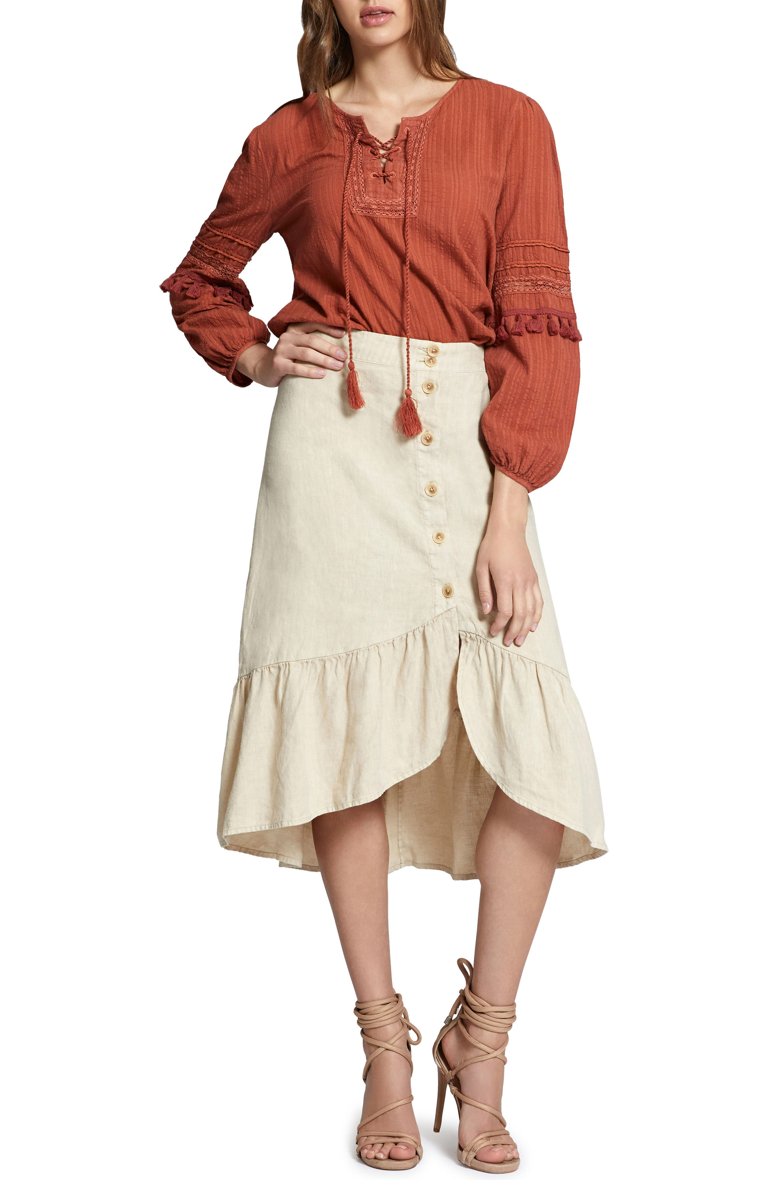 Red Rock Peasant Blouse,                             Alternate thumbnail 4, color,