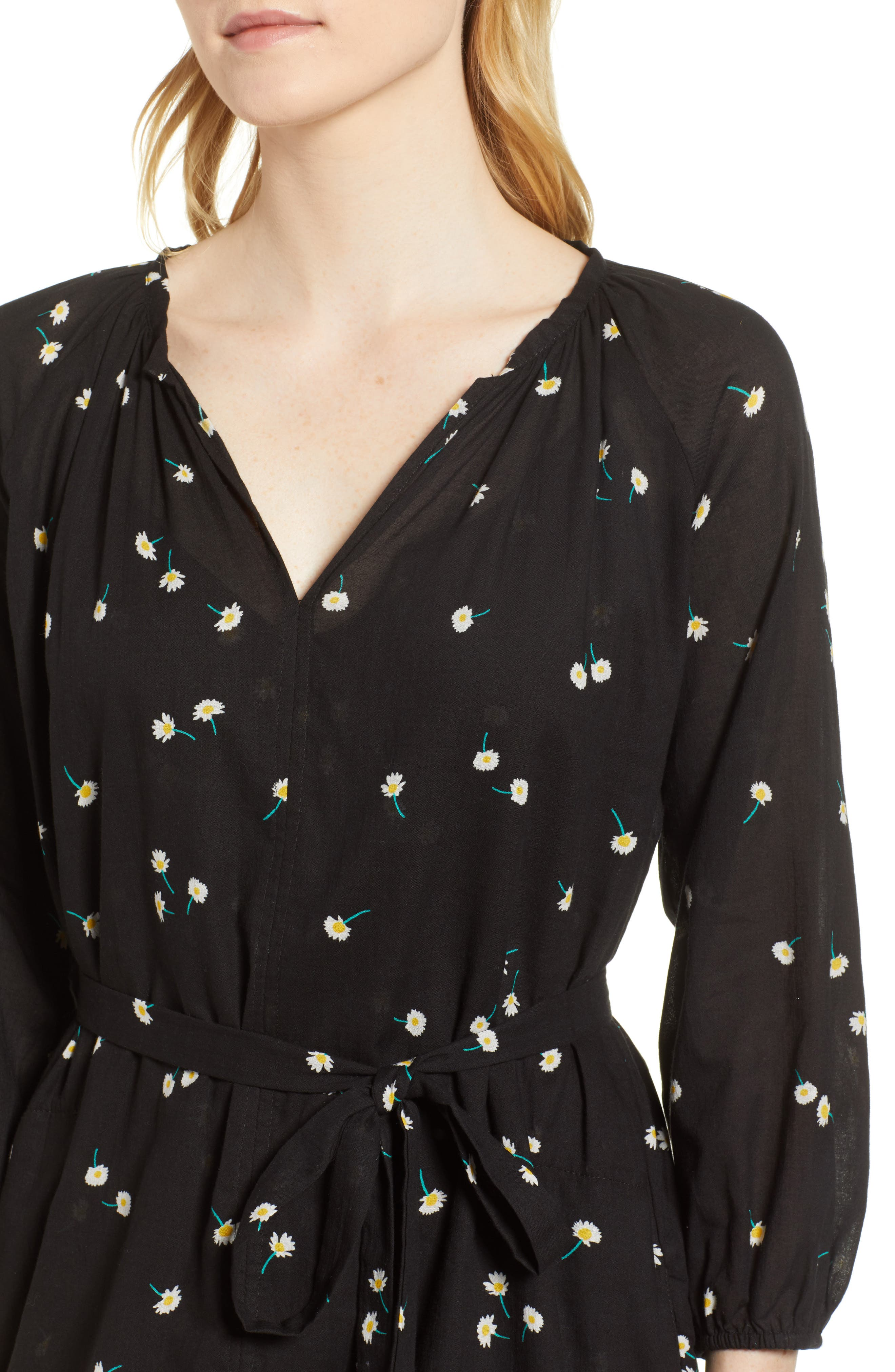 Printed Cotton Gauze Dress,                             Alternate thumbnail 4, color,                             008