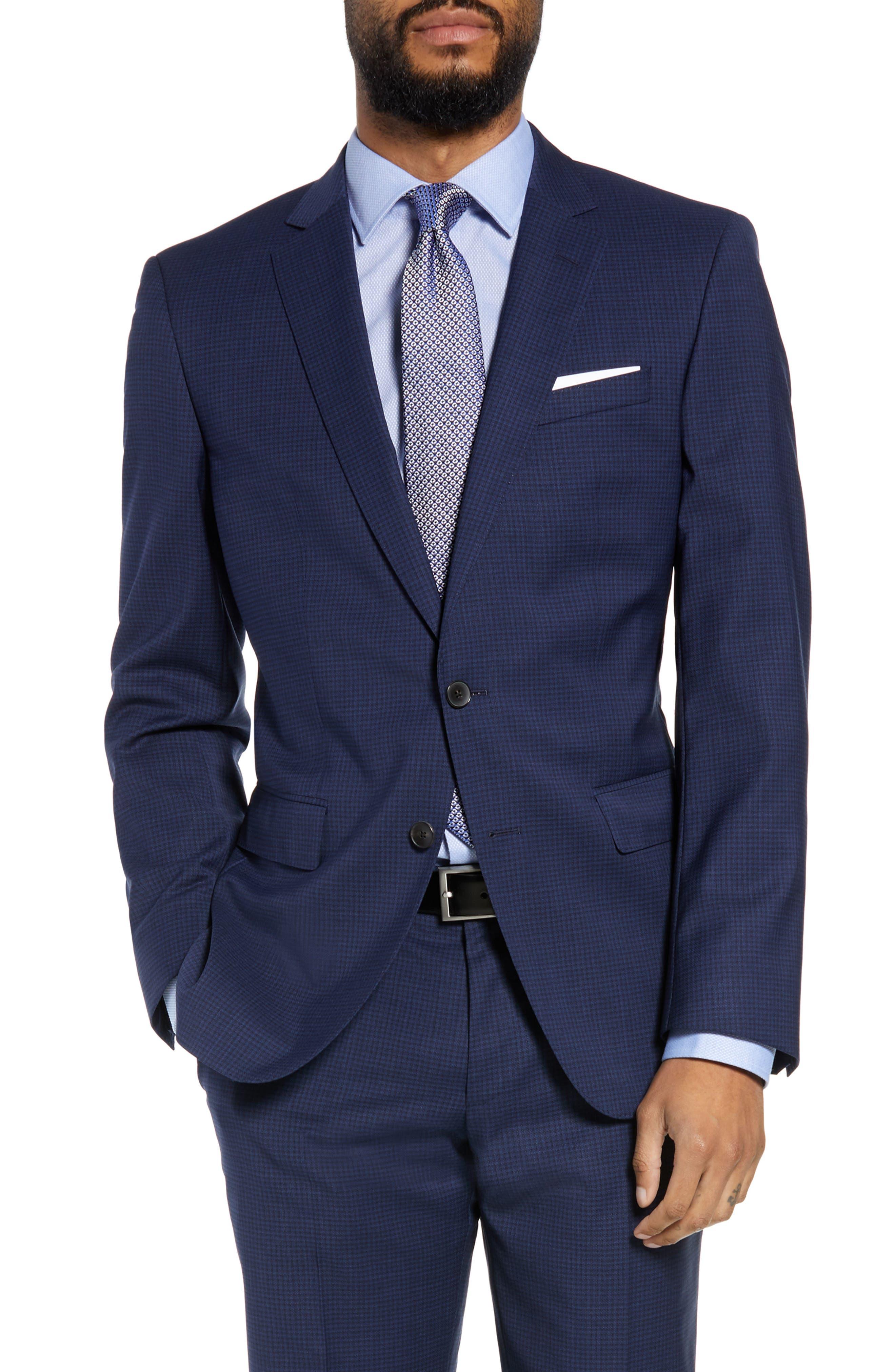 Huge/Genius Trim Fit Solid Wool Suit,                             Alternate thumbnail 5, color,                             DARK BLUE