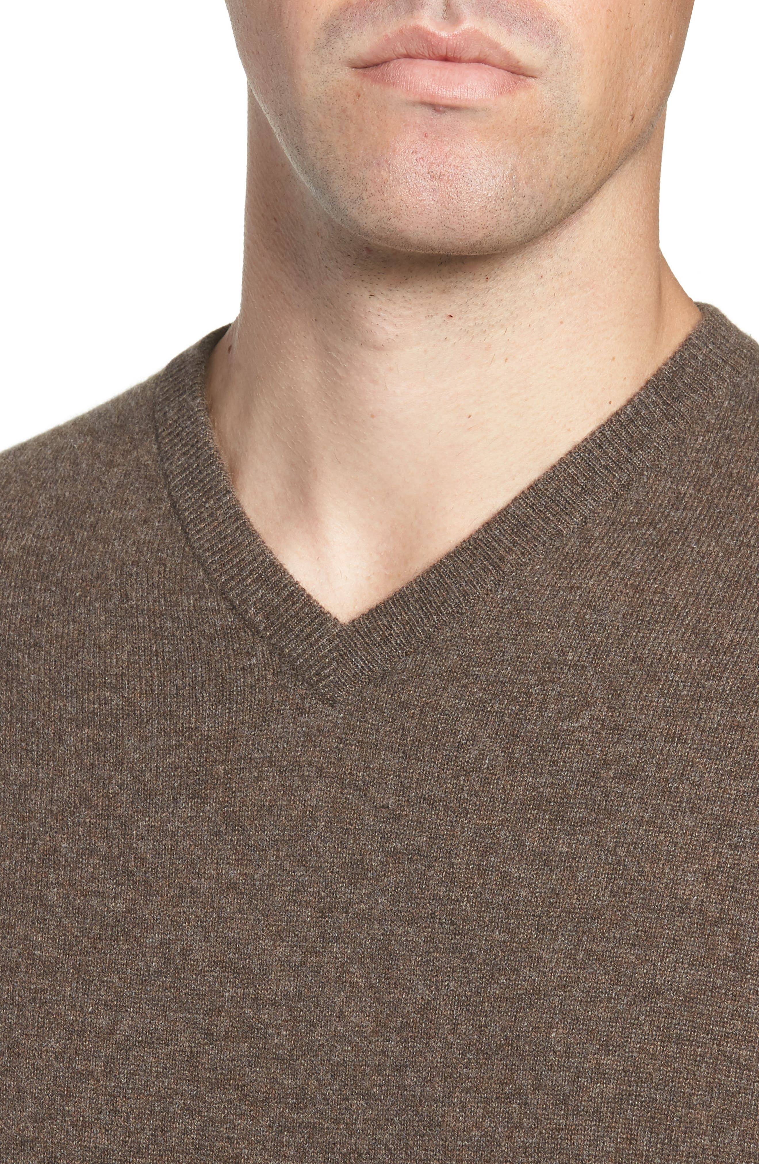 Cashmere V-Neck Sweater,                             Alternate thumbnail 4, color,                             BROWN FAWN