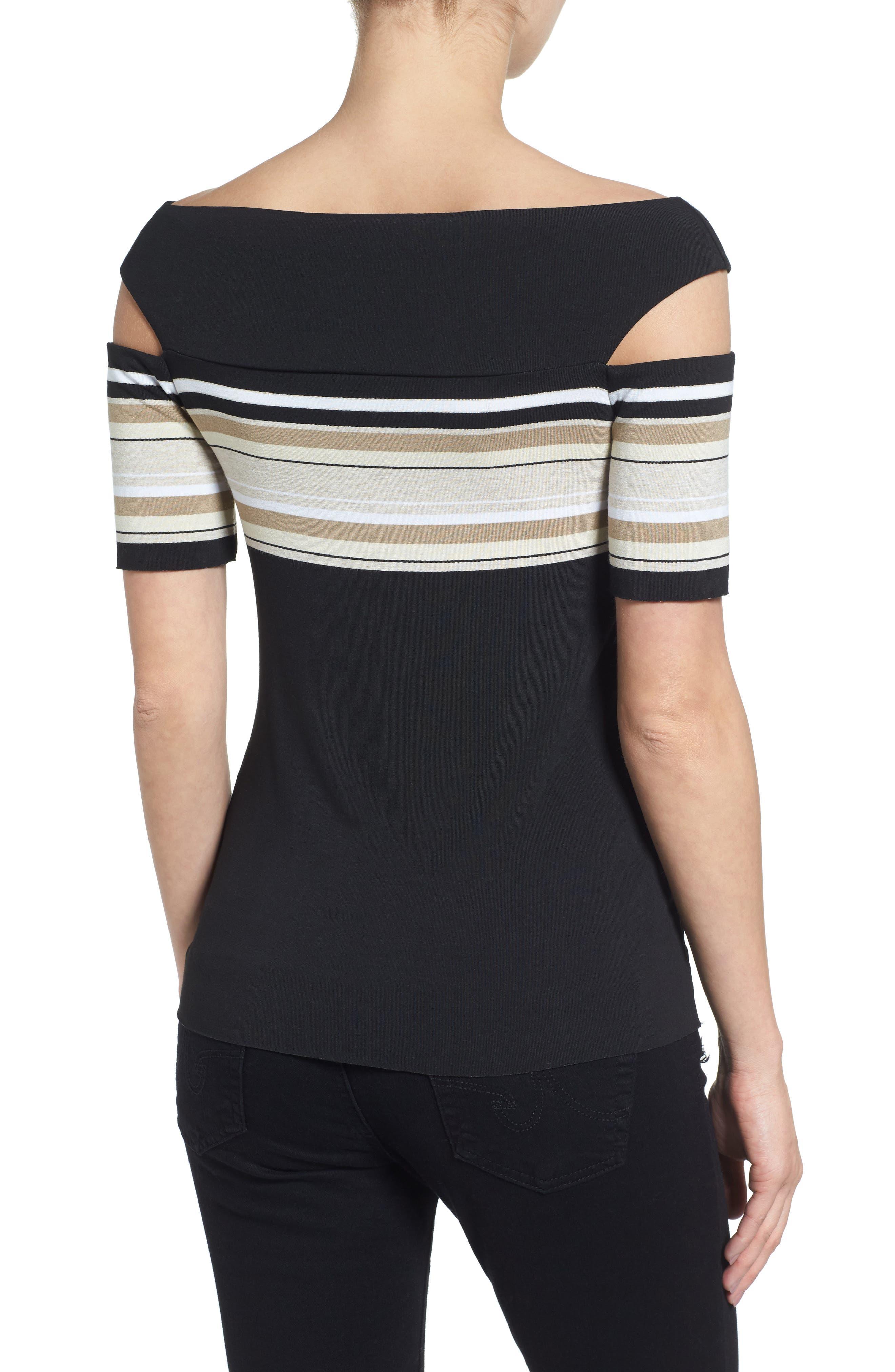 Stripe Off the Shoulder Top,                             Alternate thumbnail 2, color,                             001