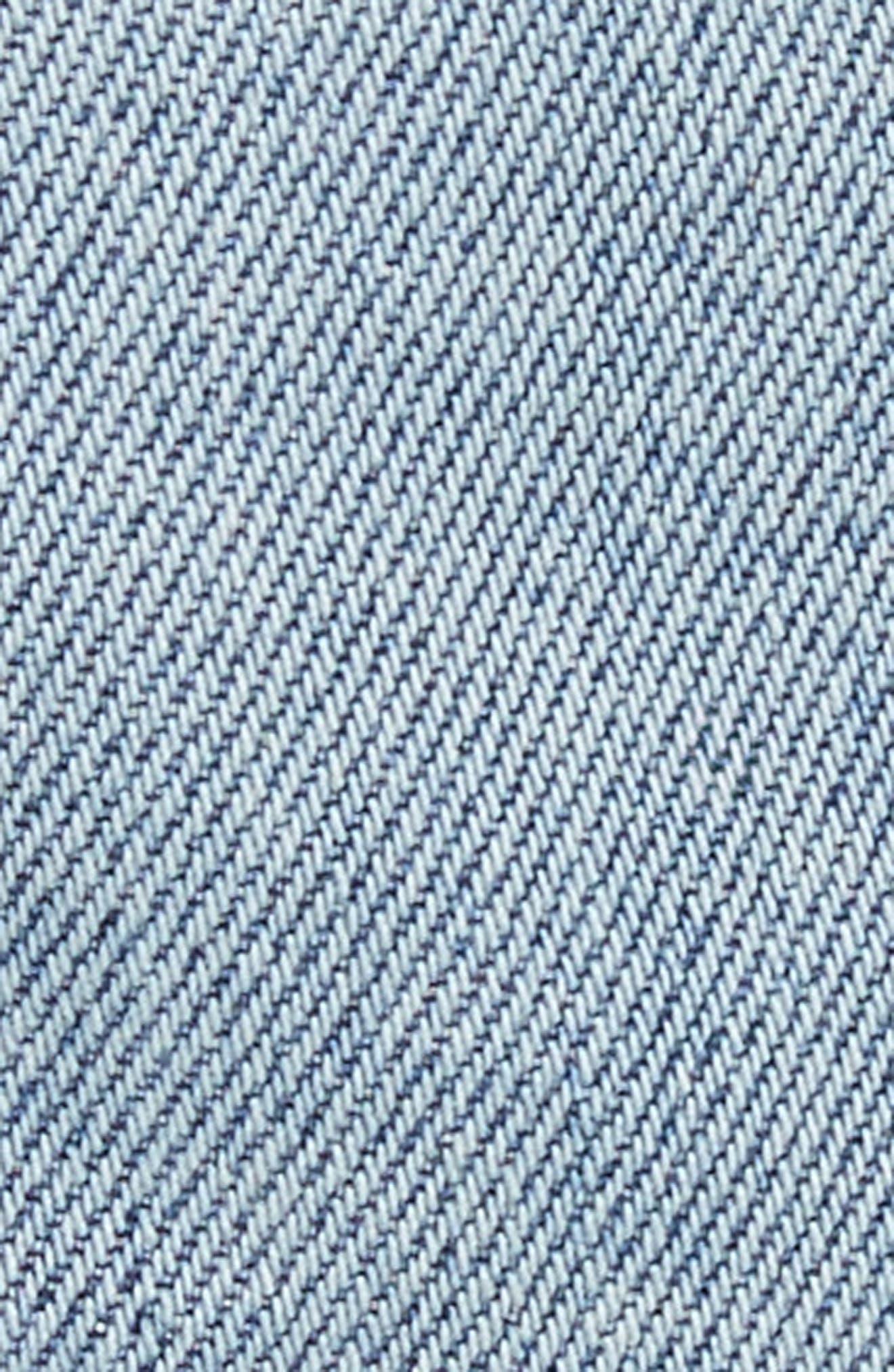 Pompom Trim Denim Miniskirt,                             Alternate thumbnail 5, color,                             489