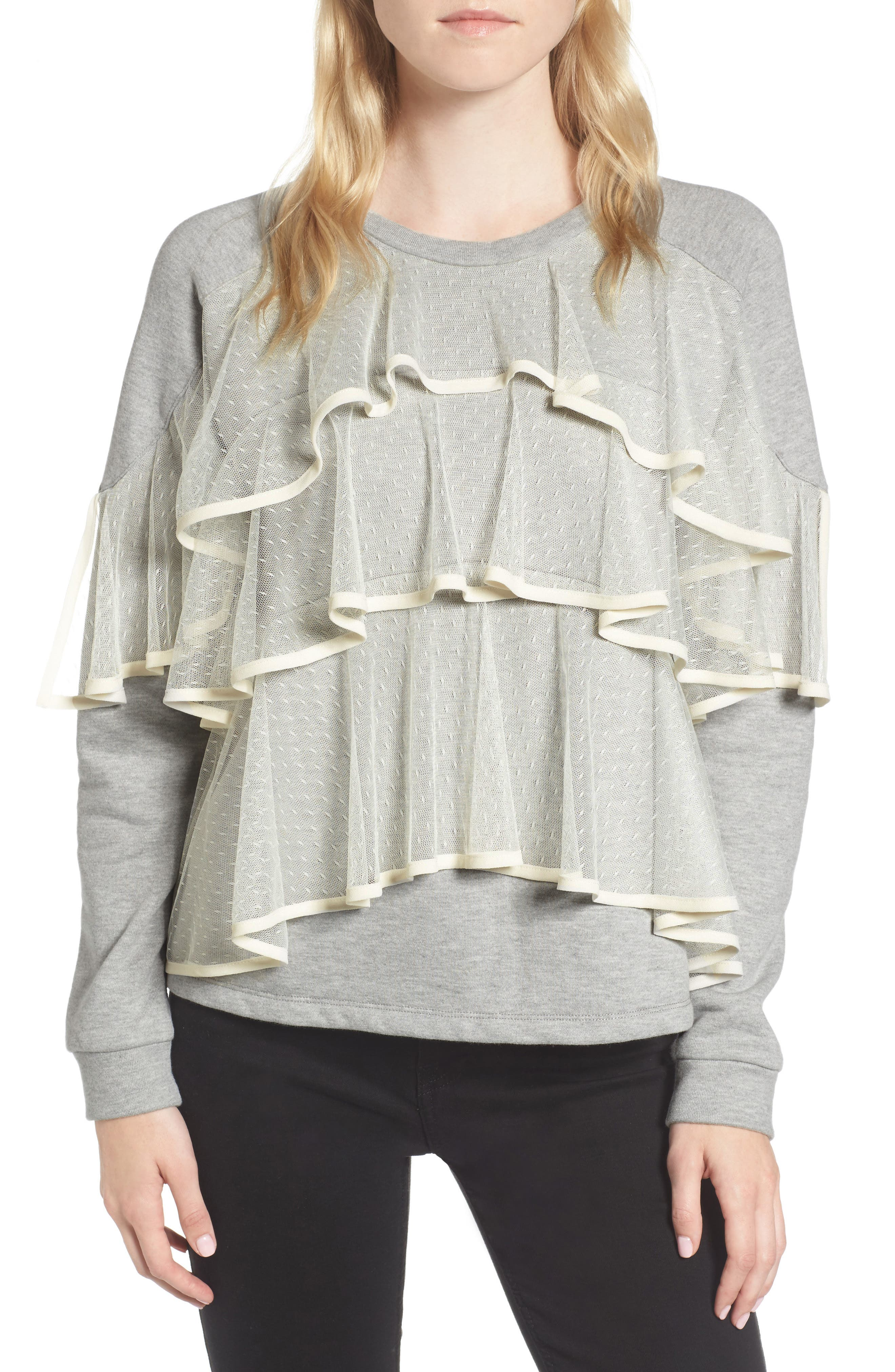 Mesh Ruffle Sweatshirt,                         Main,                         color, 033