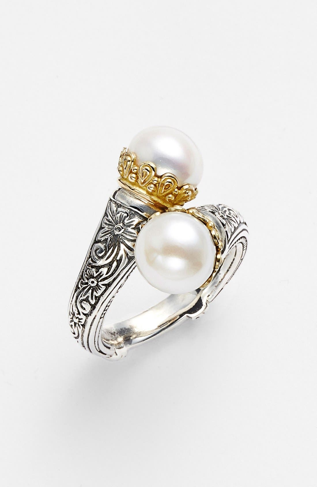 'Hermione' Pearl Coil Ring,                             Main thumbnail 1, color,                             SILVER/ GOLD