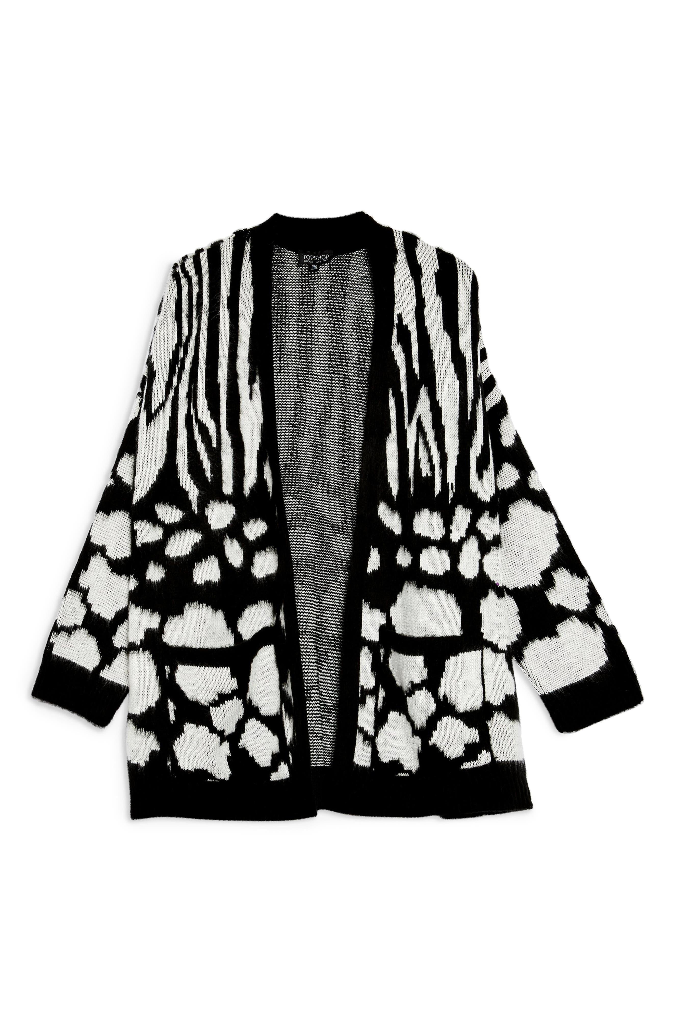 Zebra Mix Cardigan,                             Alternate thumbnail 3, color,                             BLACK MULTI