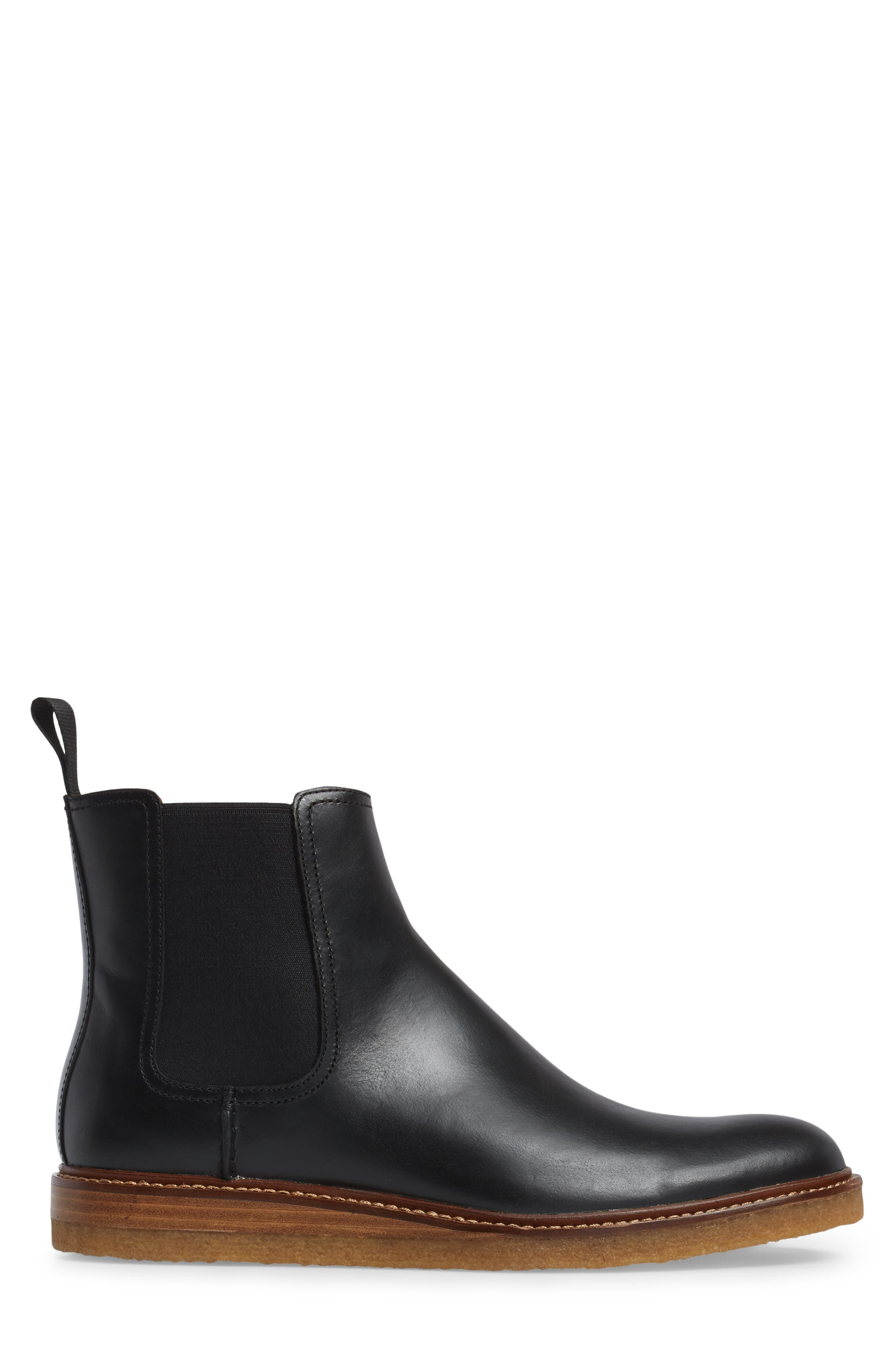 Leather Chelsea Boot,                             Alternate thumbnail 3, color,                             001