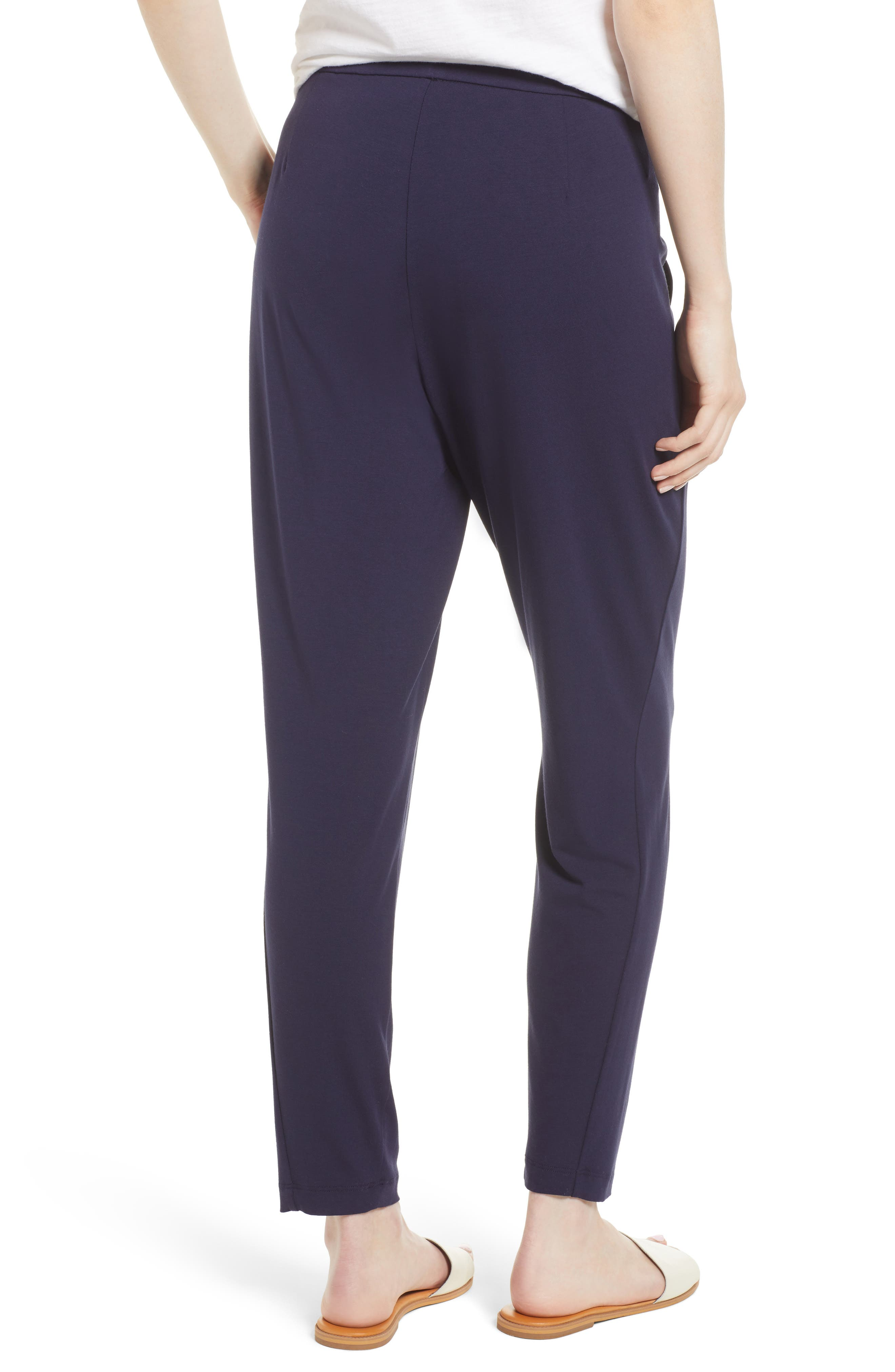 Crop Stretch Knit Pants,                             Alternate thumbnail 2, color,                             MIDNIGHT