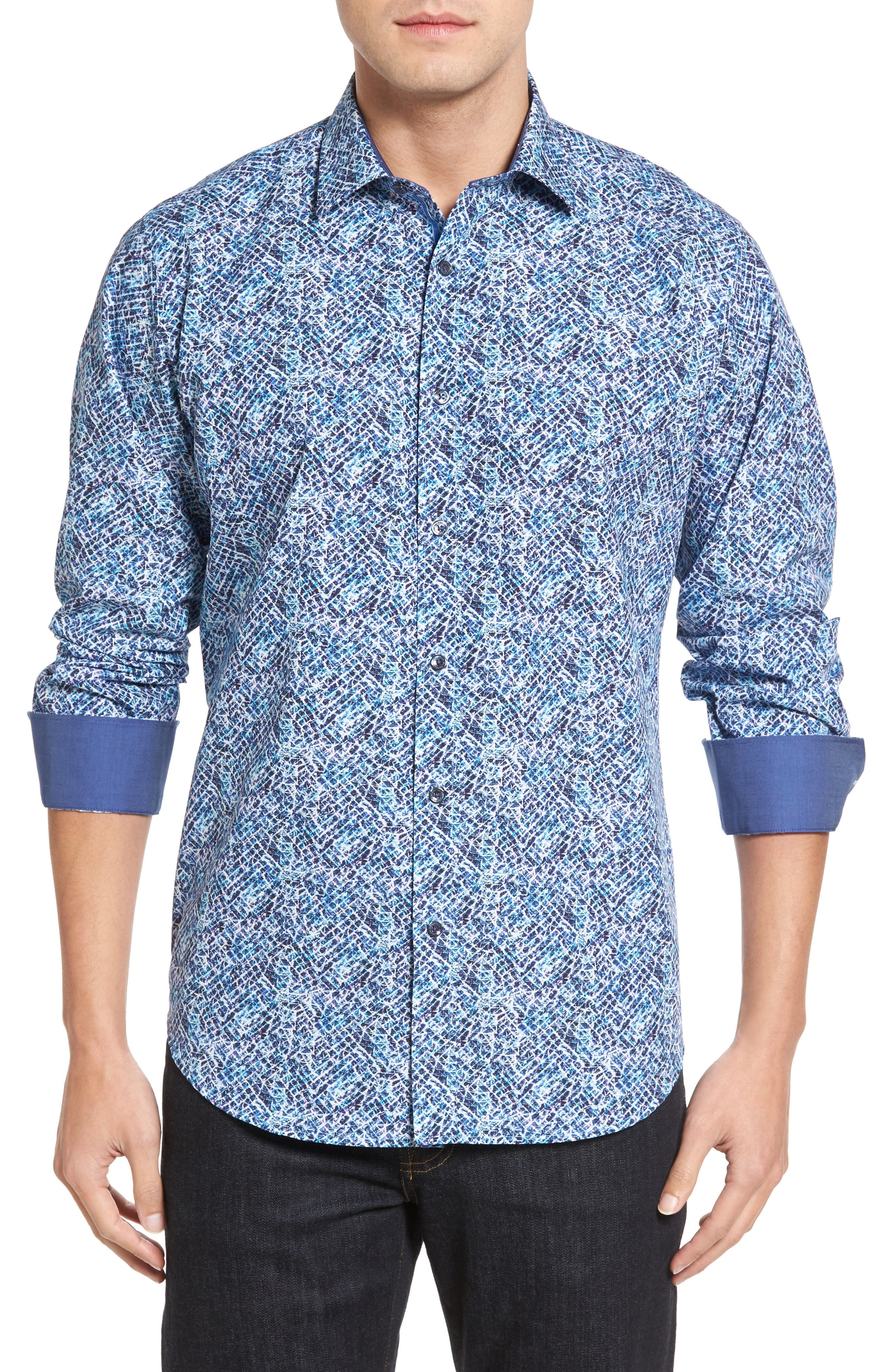 Classic Fit Print Sport Shirt,                         Main,                         color, 408