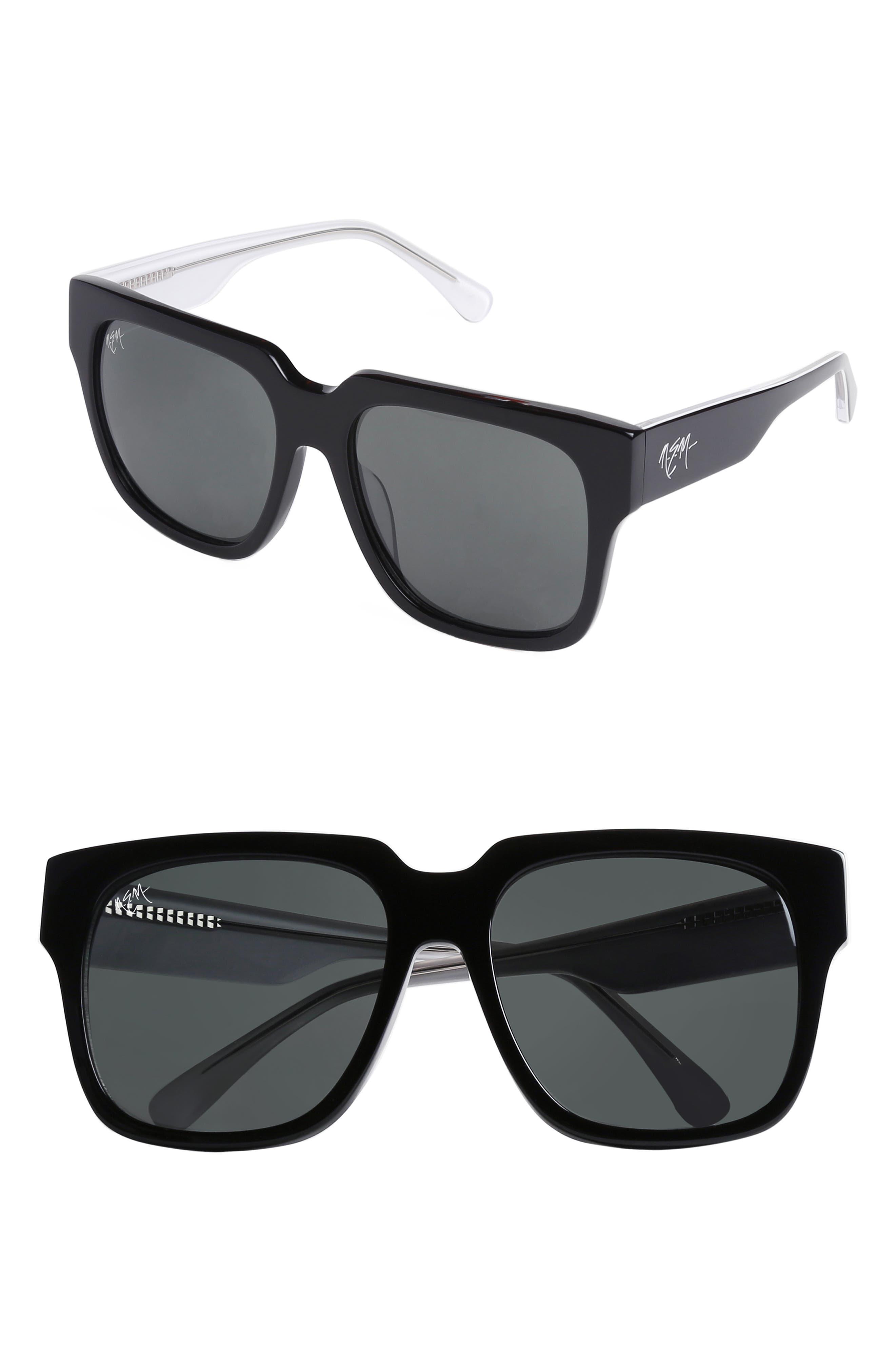 55mm Square Sunglasses,                             Main thumbnail 1, color,                             GLOSSY BLACK