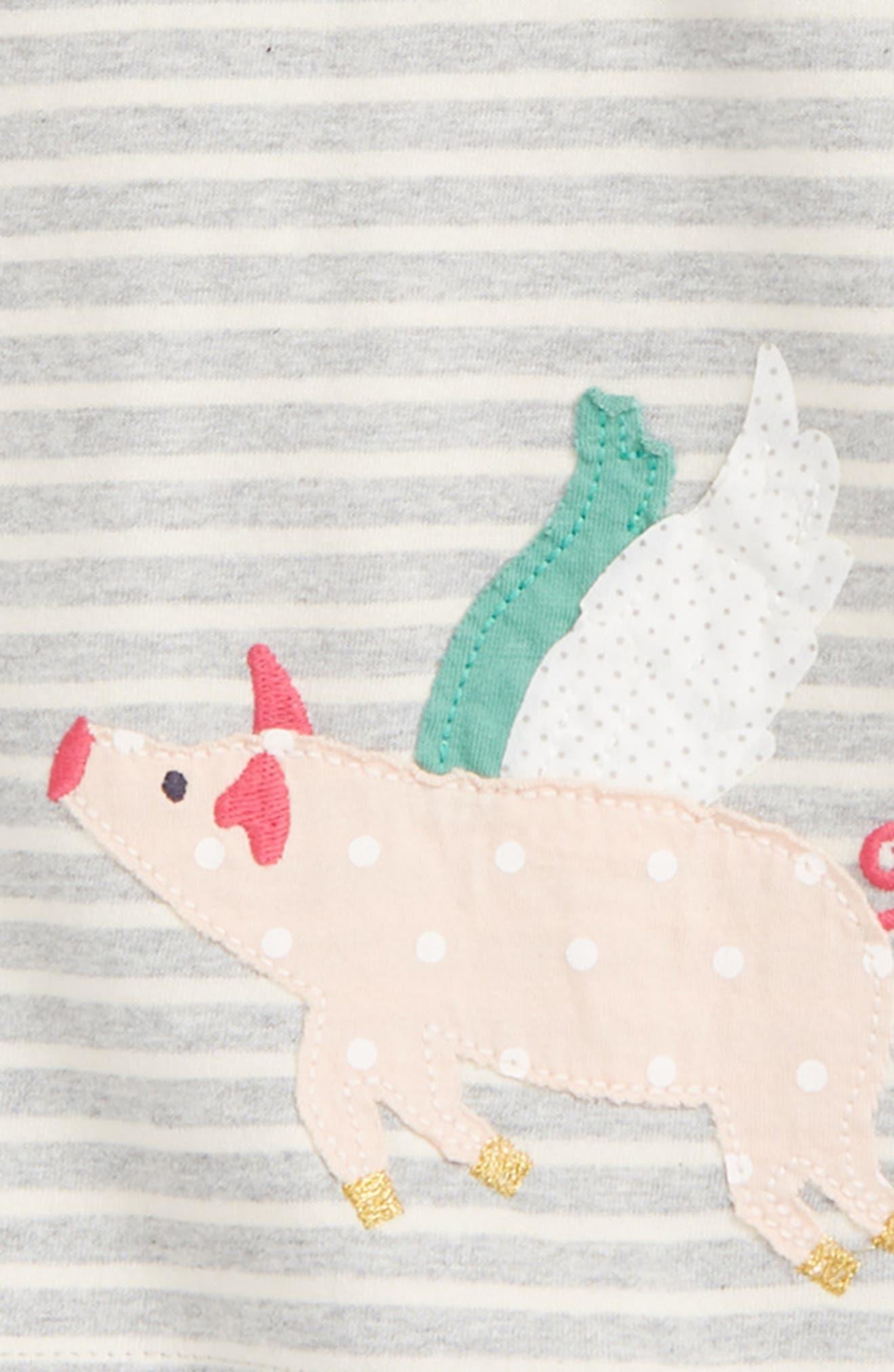 Jersey Dress & Leggings Set,                             Alternate thumbnail 2, color,                             GREY MARL/ FLYING PIGS