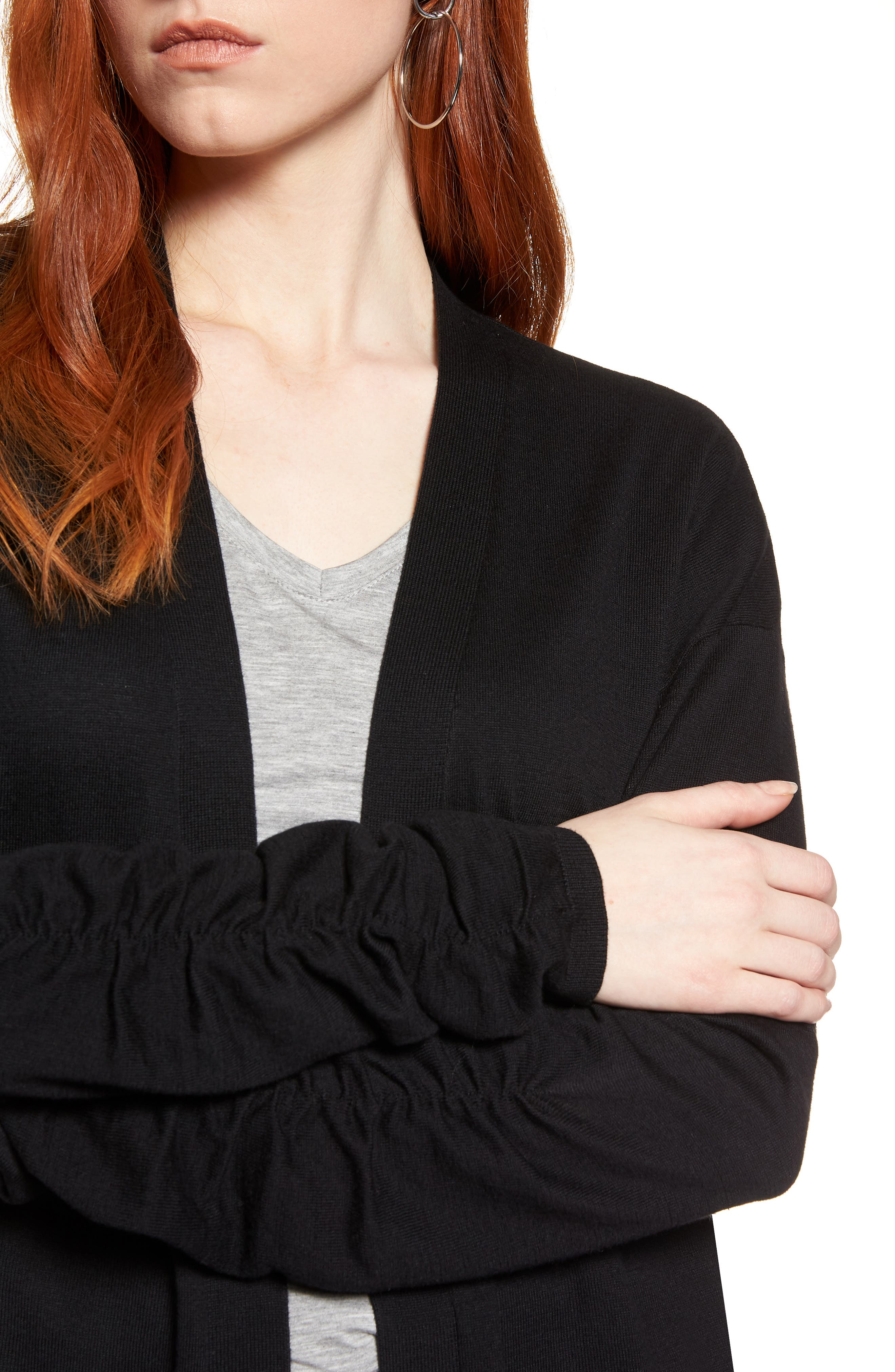 Ruched Sleeve Cardigan,                             Alternate thumbnail 4, color,                             001