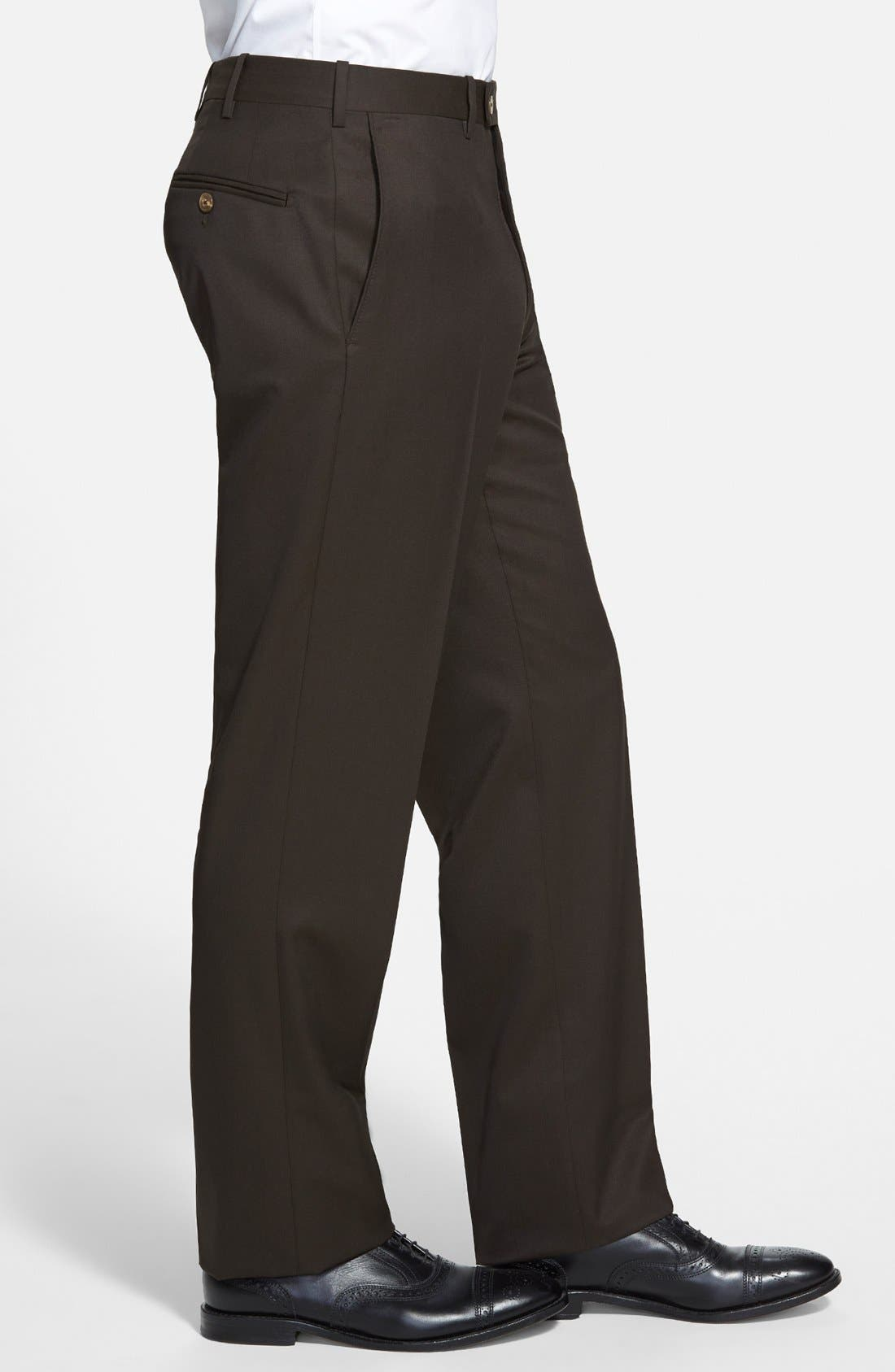 Flat Front Worsted Wool Trousers,                             Alternate thumbnail 28, color,