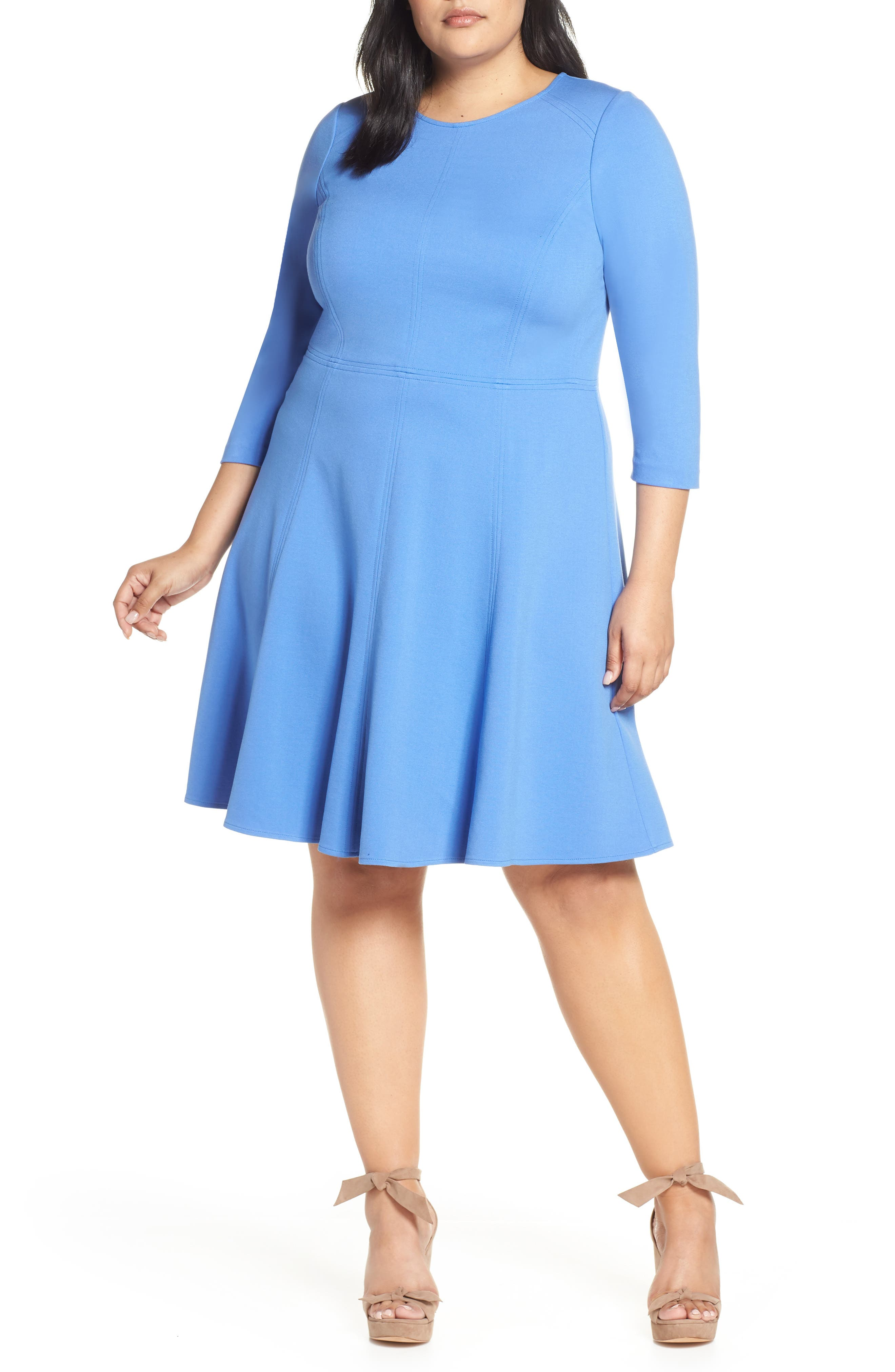 Plus Size Eliza J Seamed Fit & Flare Dress, Blue