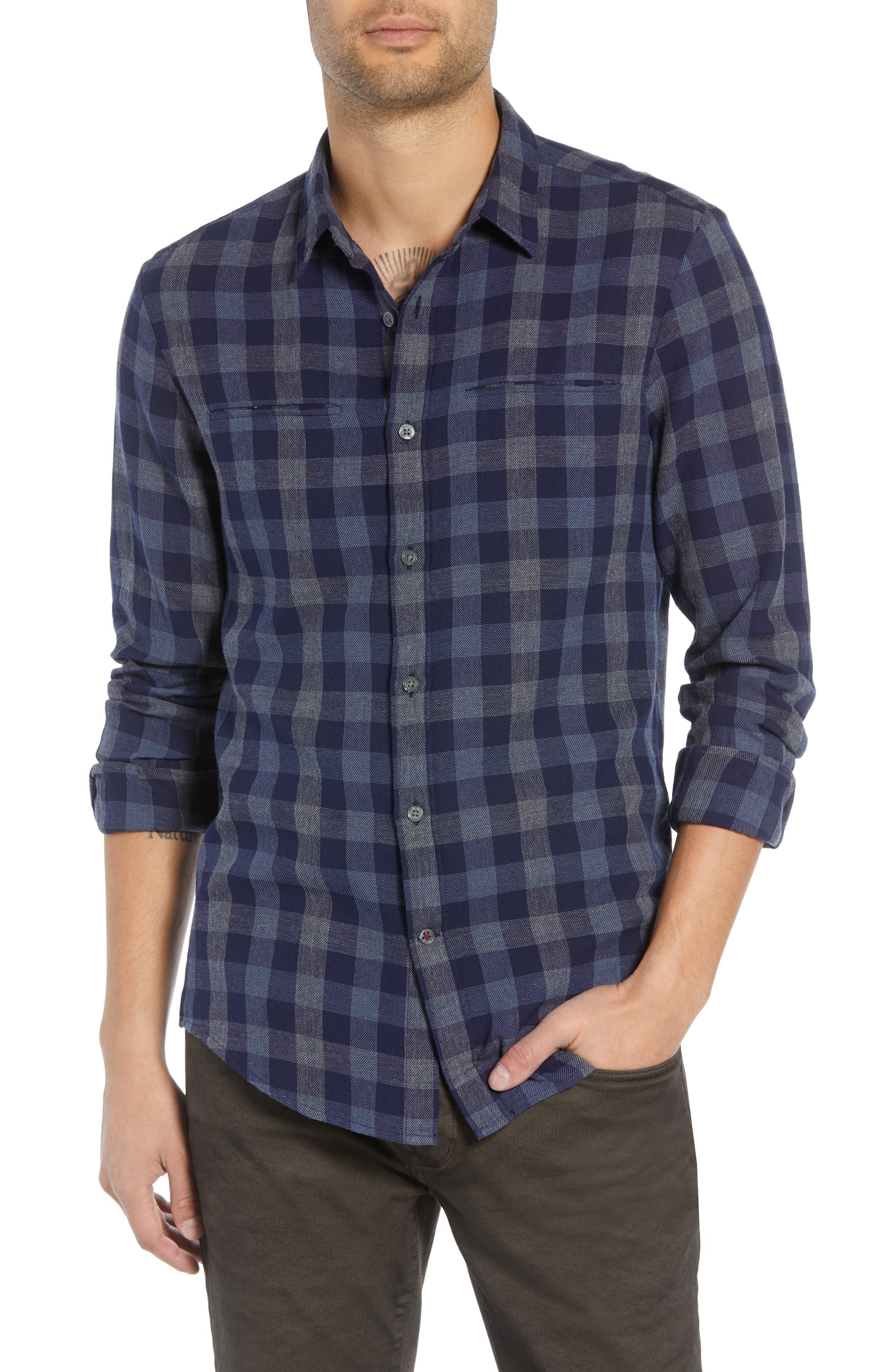 JOHN VARVATOS STAR USA,                             Regular Fit Plaid Sport Shirt,                             Main thumbnail 1, color,                             NAVY