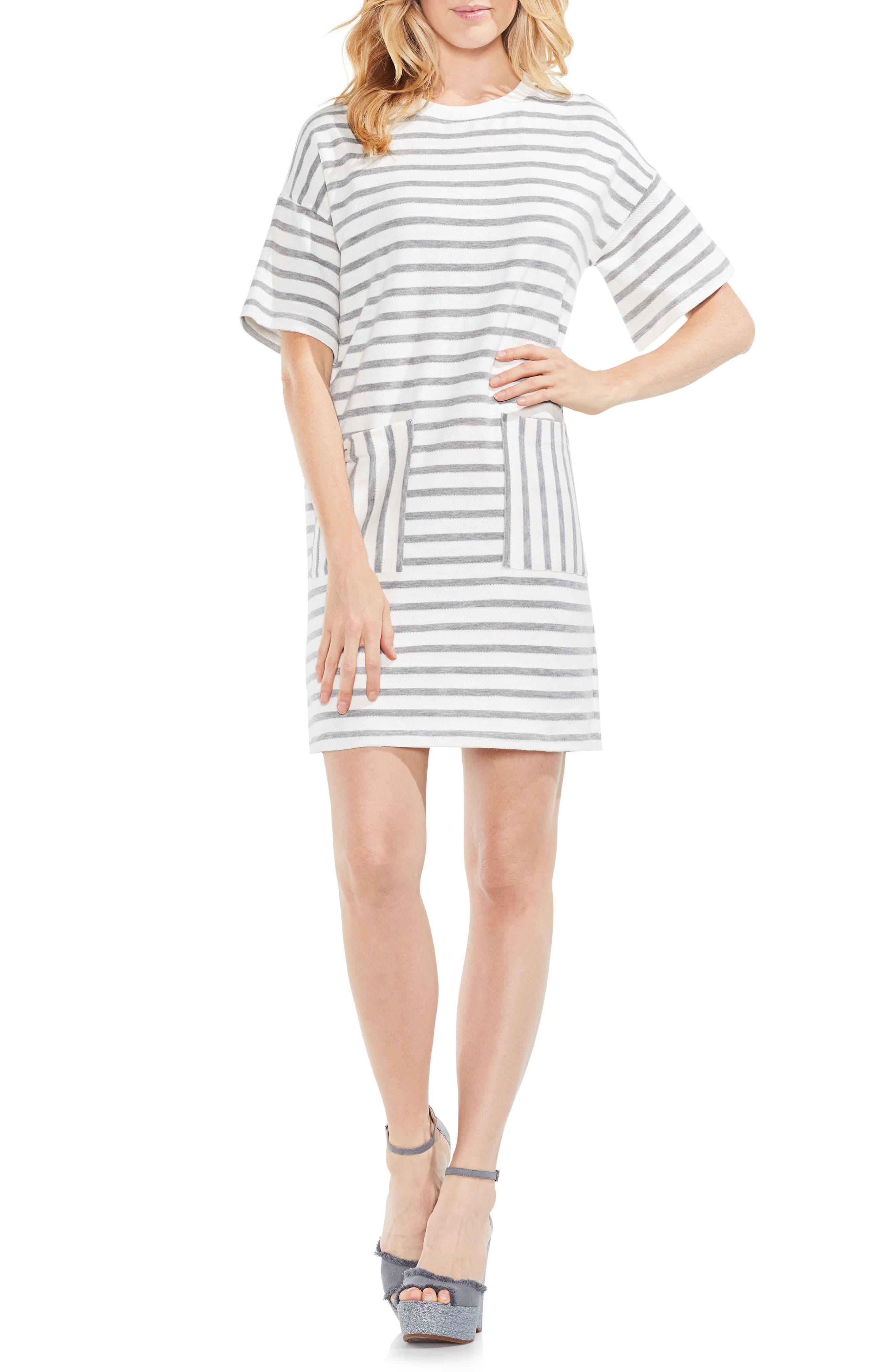 Drop Shoulder Stripe Shift Dress,                             Main thumbnail 1, color,