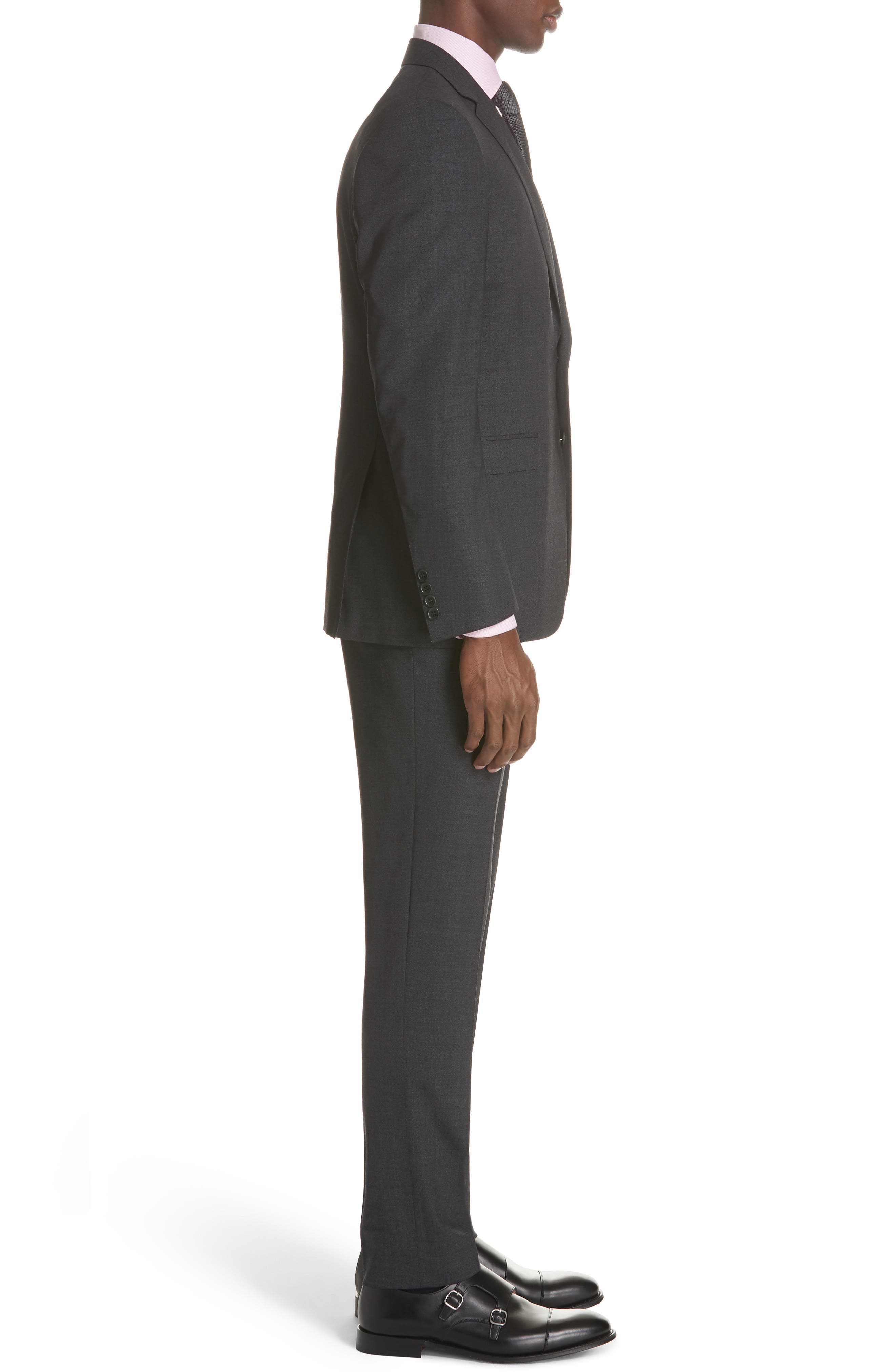 Classic Fit Stretch Solid Wool Suit,                             Alternate thumbnail 3, color,                             CHARCOAL