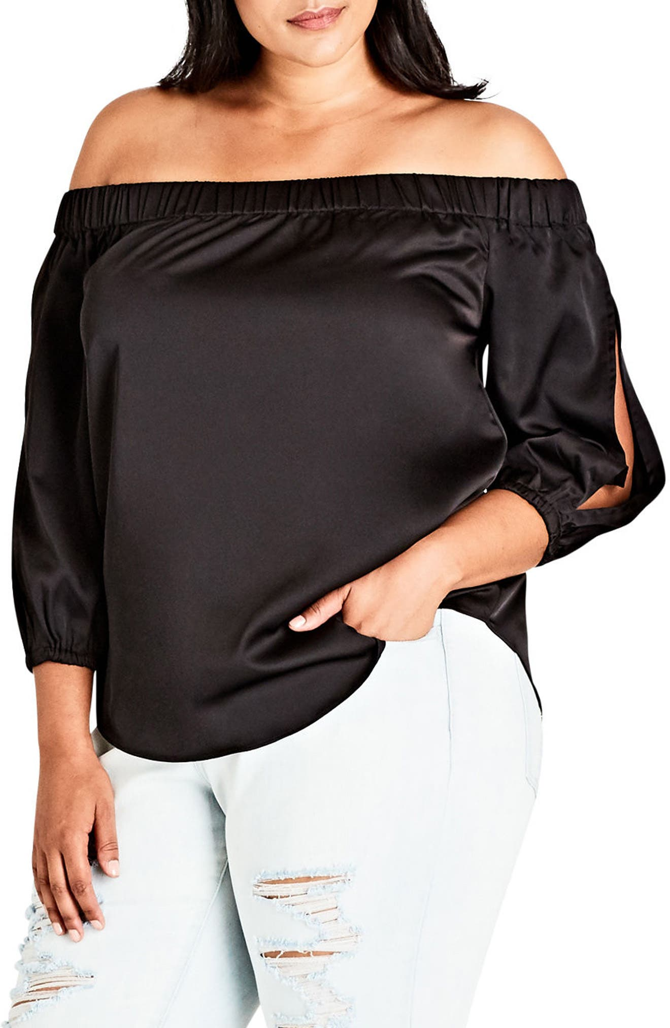 Off the Shoulder Satin Top,                             Main thumbnail 1, color,                             001