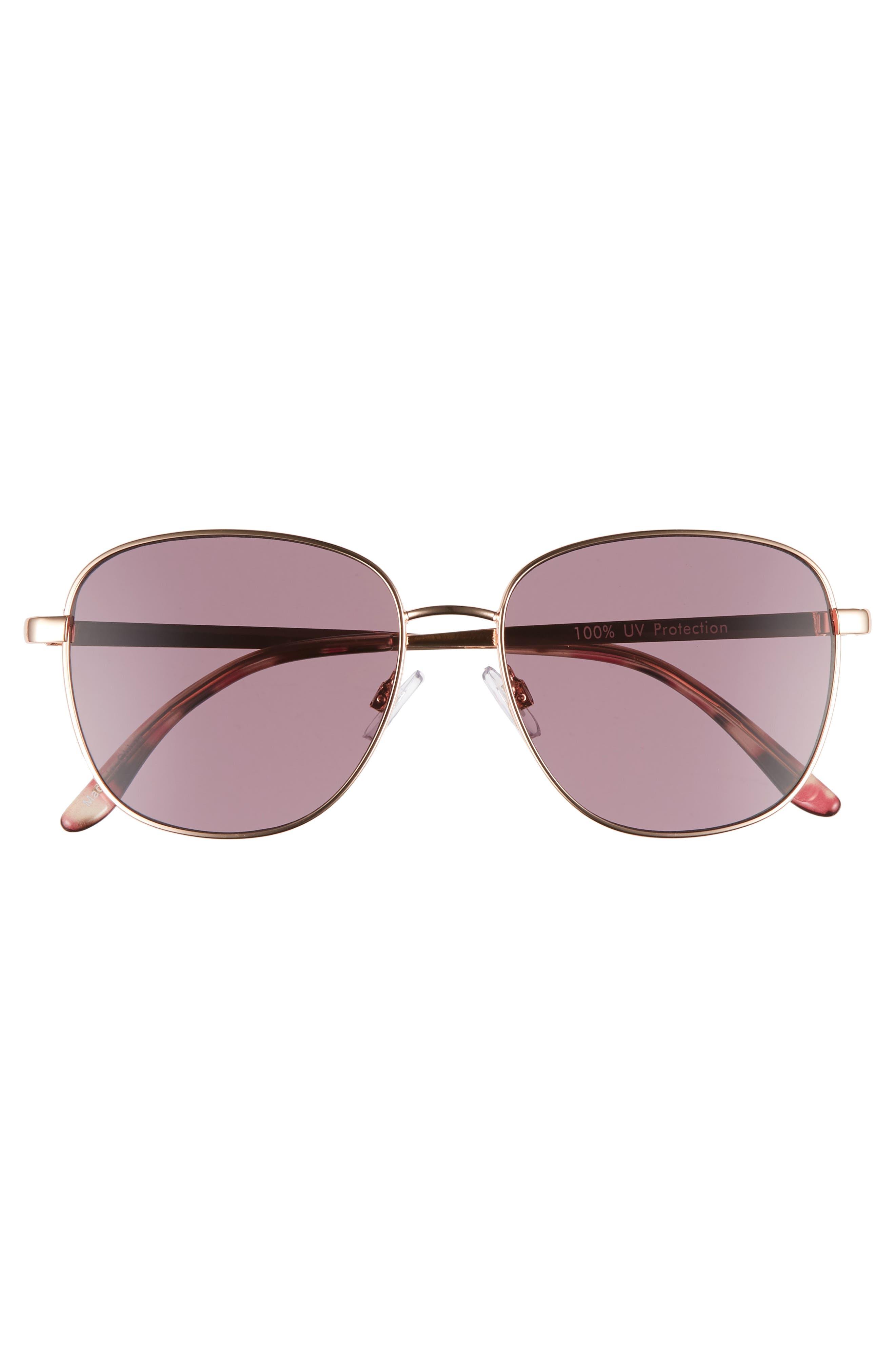 53mm Square Sunglasses,                             Alternate thumbnail 3, color,                             ROSE GOLD/ PURPLE