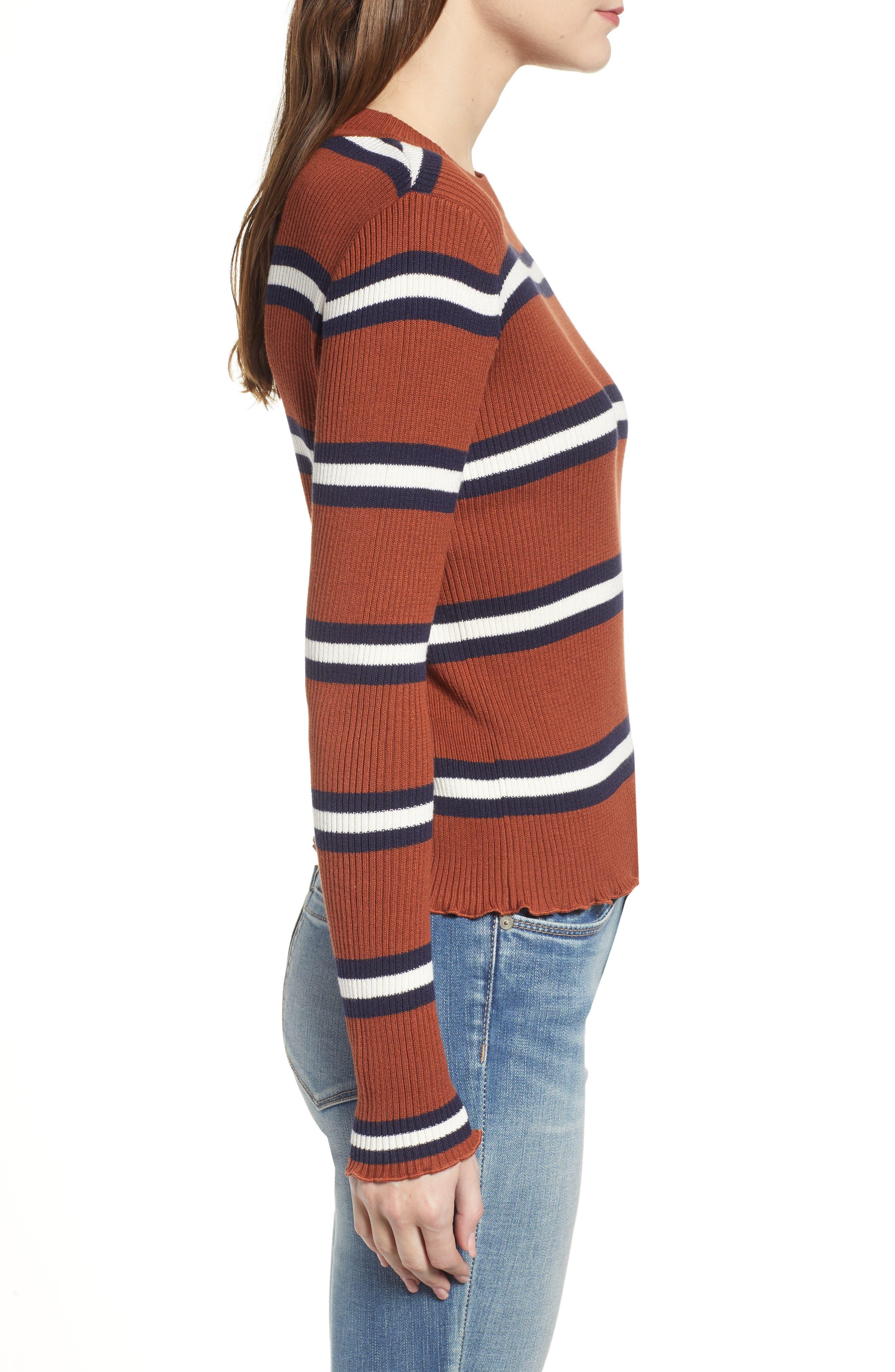 Ribbed Lettuce Edge Stripe Sweater,                             Alternate thumbnail 3, color,                             RUST SEQUOIA CLEO STRIPE