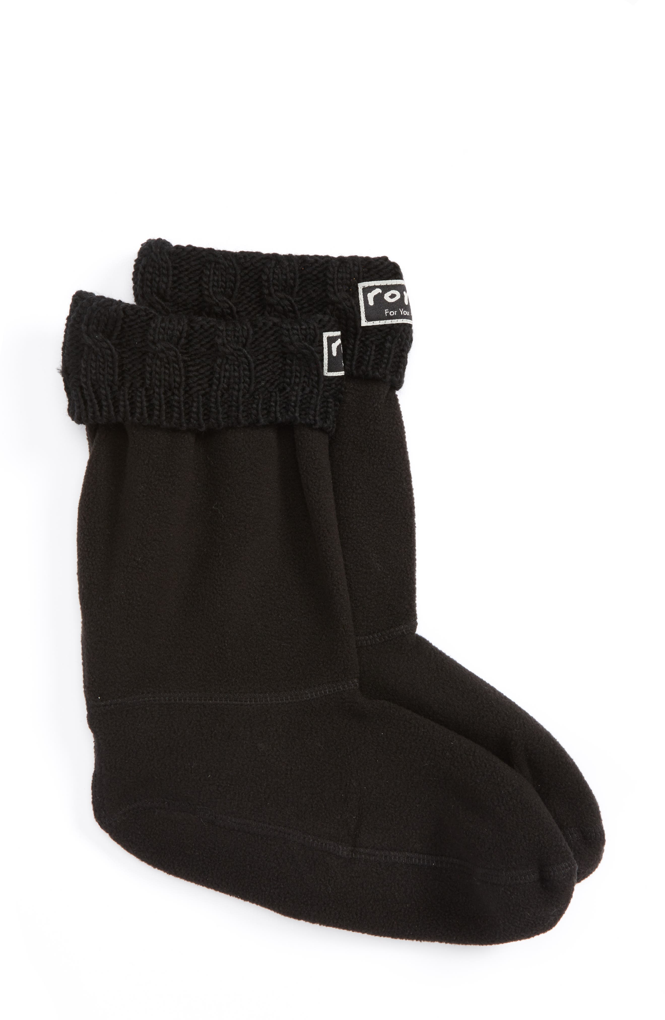 Knit Collar Fleece Boot Socks,                             Main thumbnail 1, color,                             002