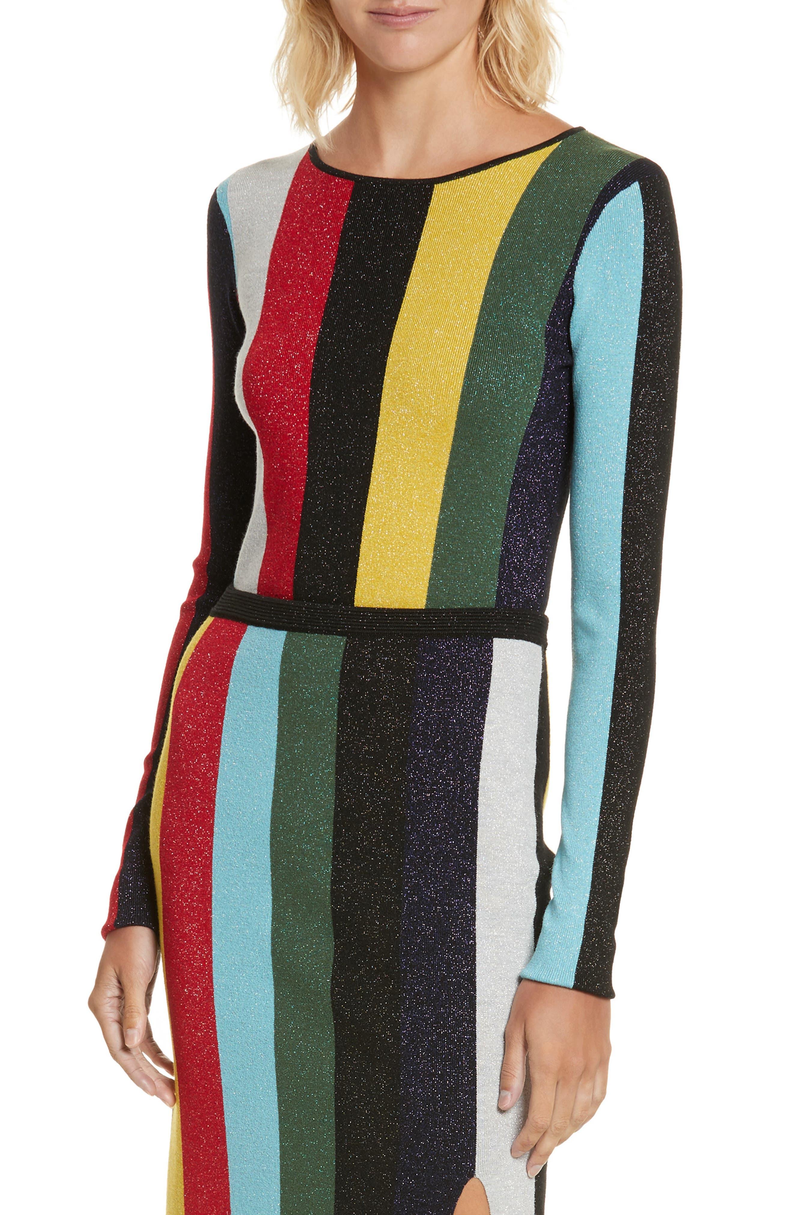 Diane von Furstenberg Metallic Stripe Sweater,                         Main,                         color, 008