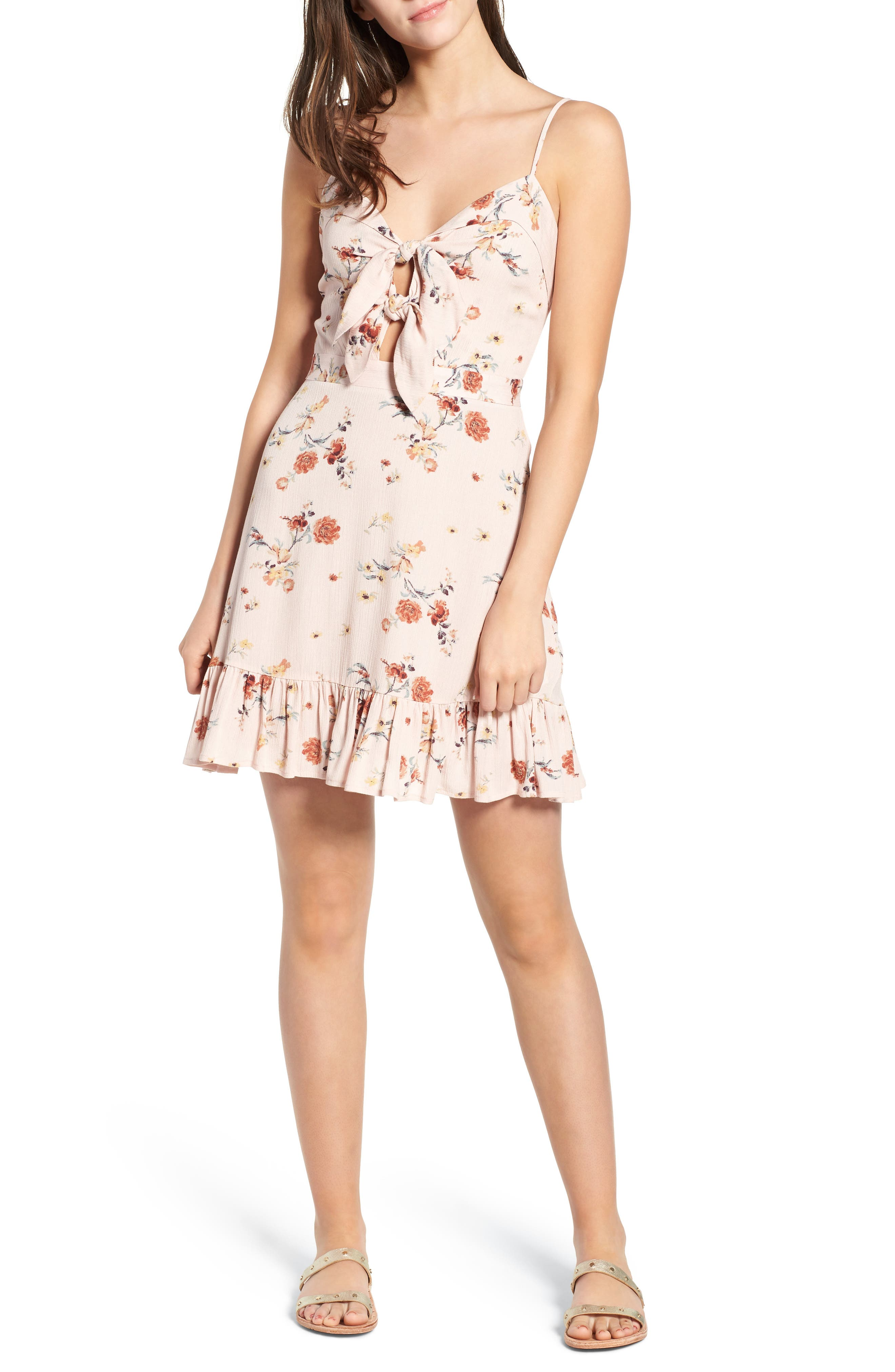 LOST + WANDER Rosa Floral Tie Front Minidress, Main, color, 650