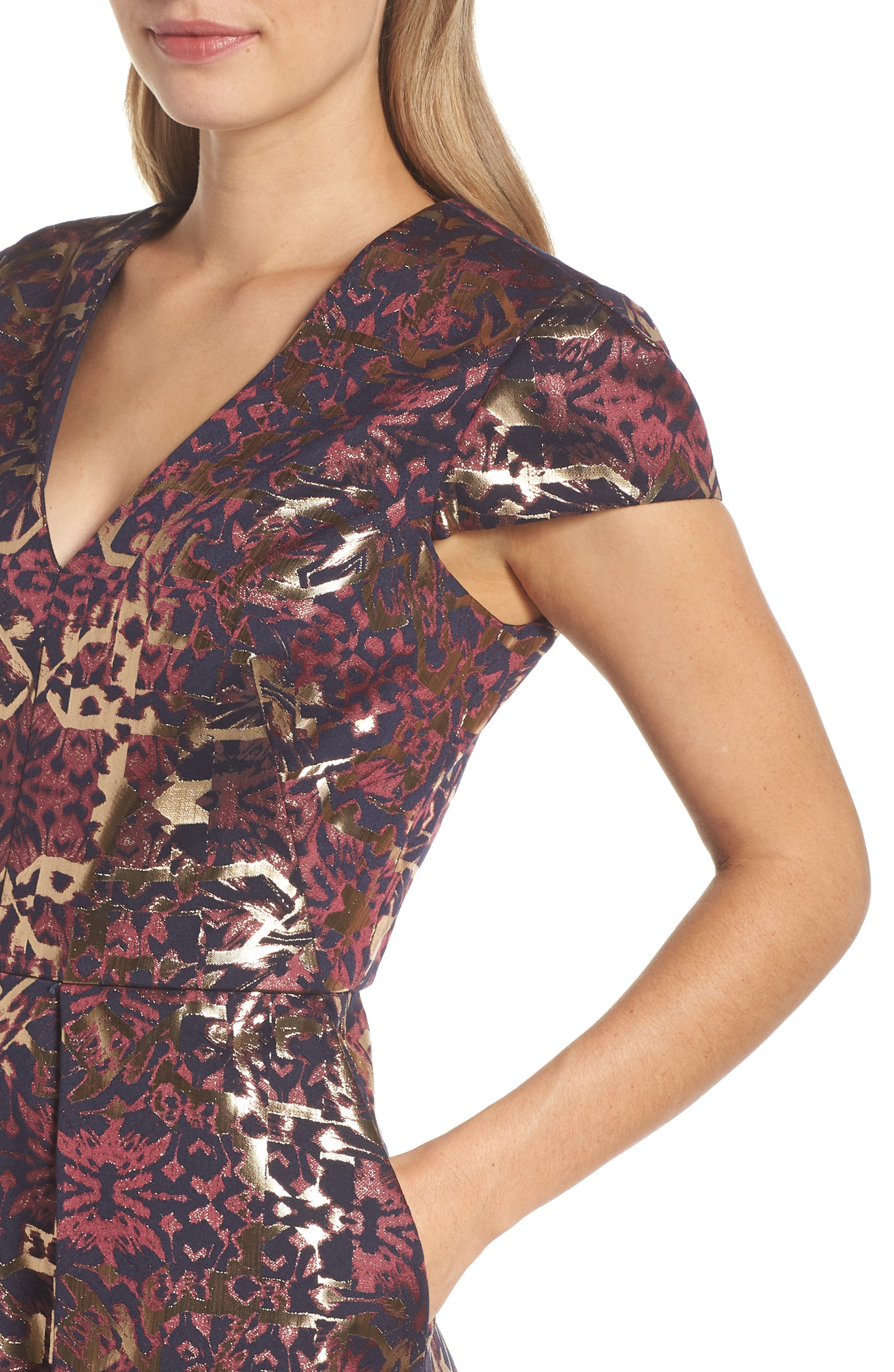 Metallic Jacquard Fit & Flare Dress,                             Alternate thumbnail 4, color,                             PINK MULTI