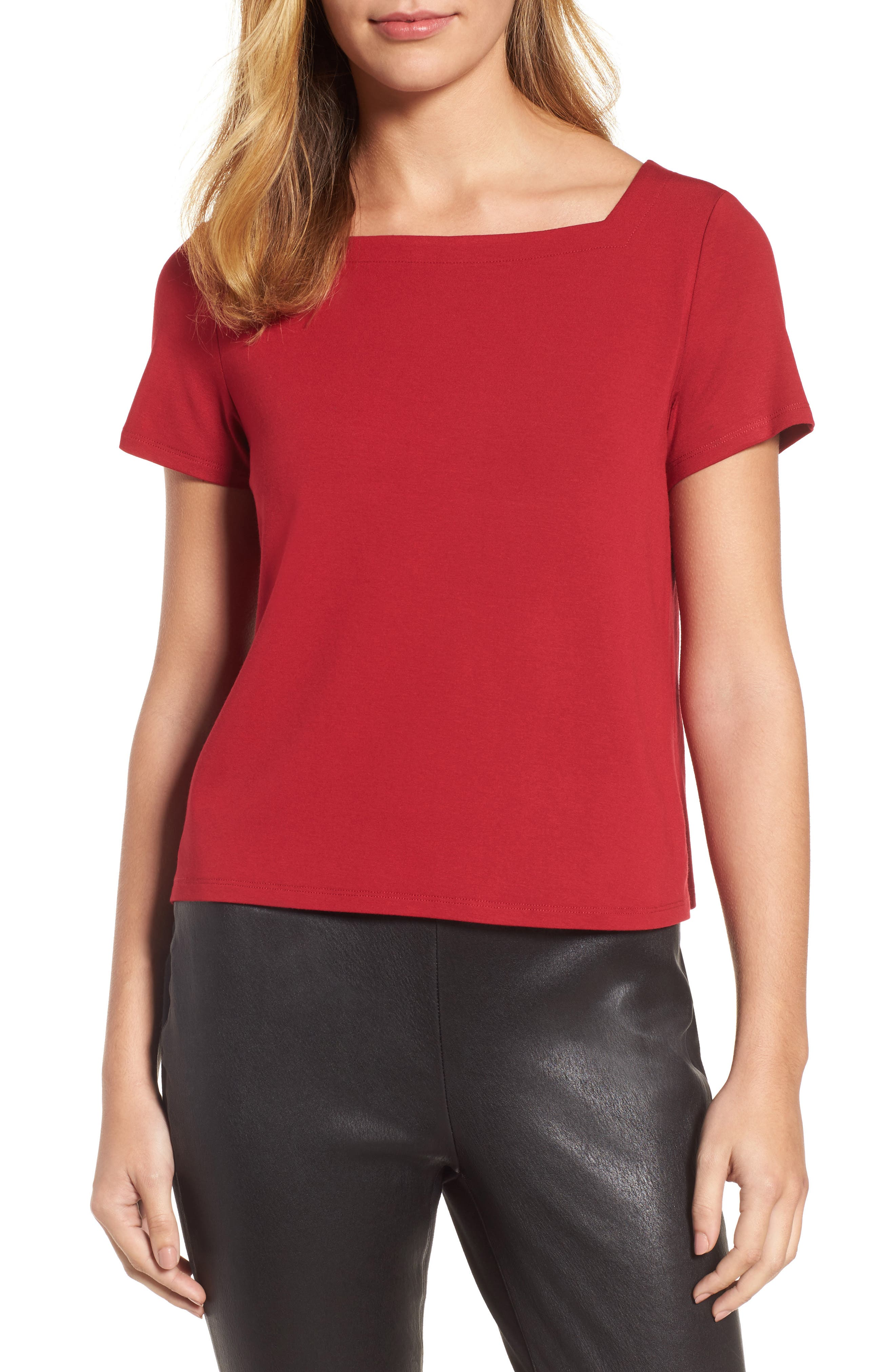 Square Neck Jersey Top,                             Main thumbnail 5, color,