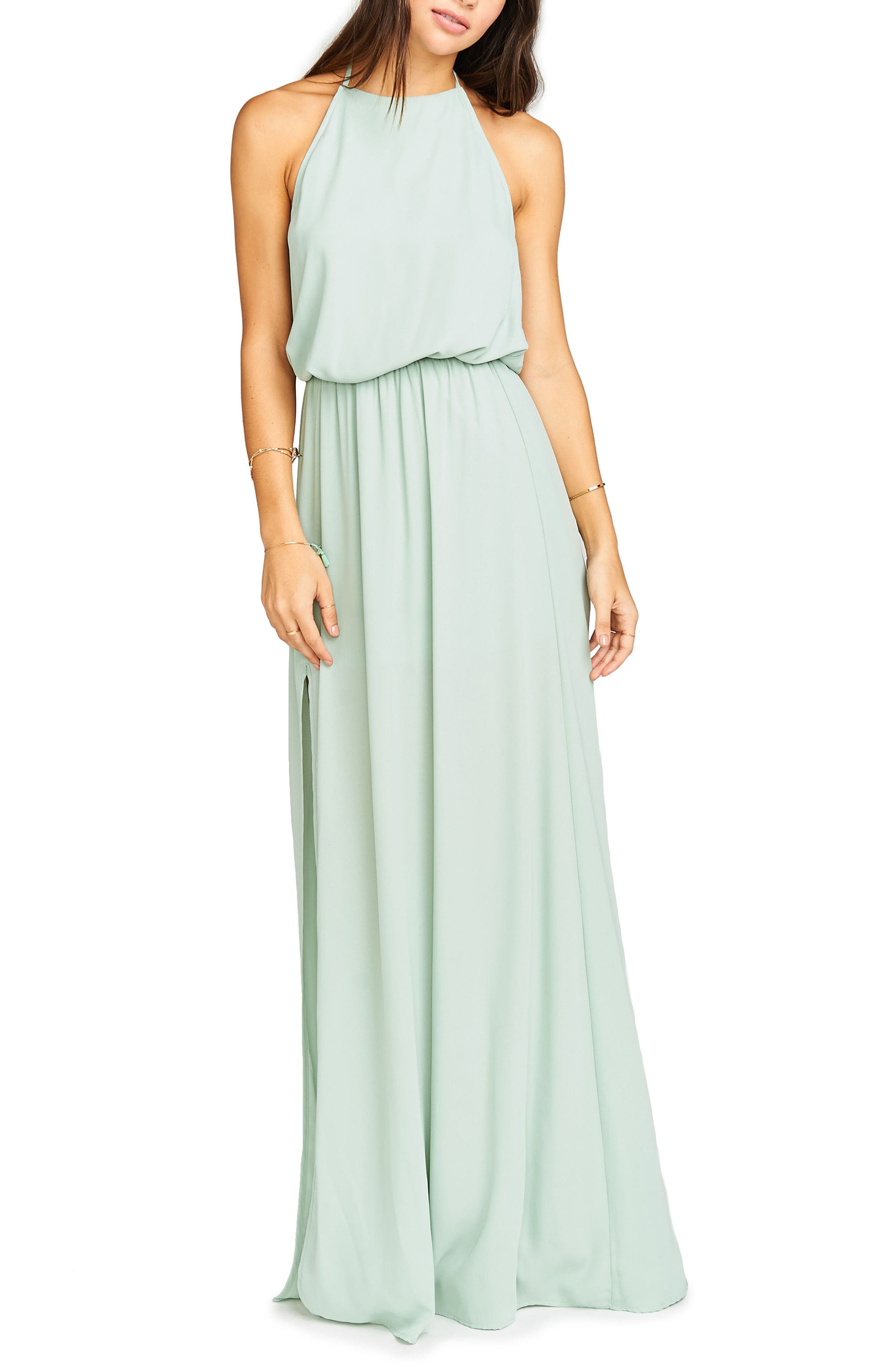 Heather Chiffon Halter Gown,                             Alternate thumbnail 53, color,