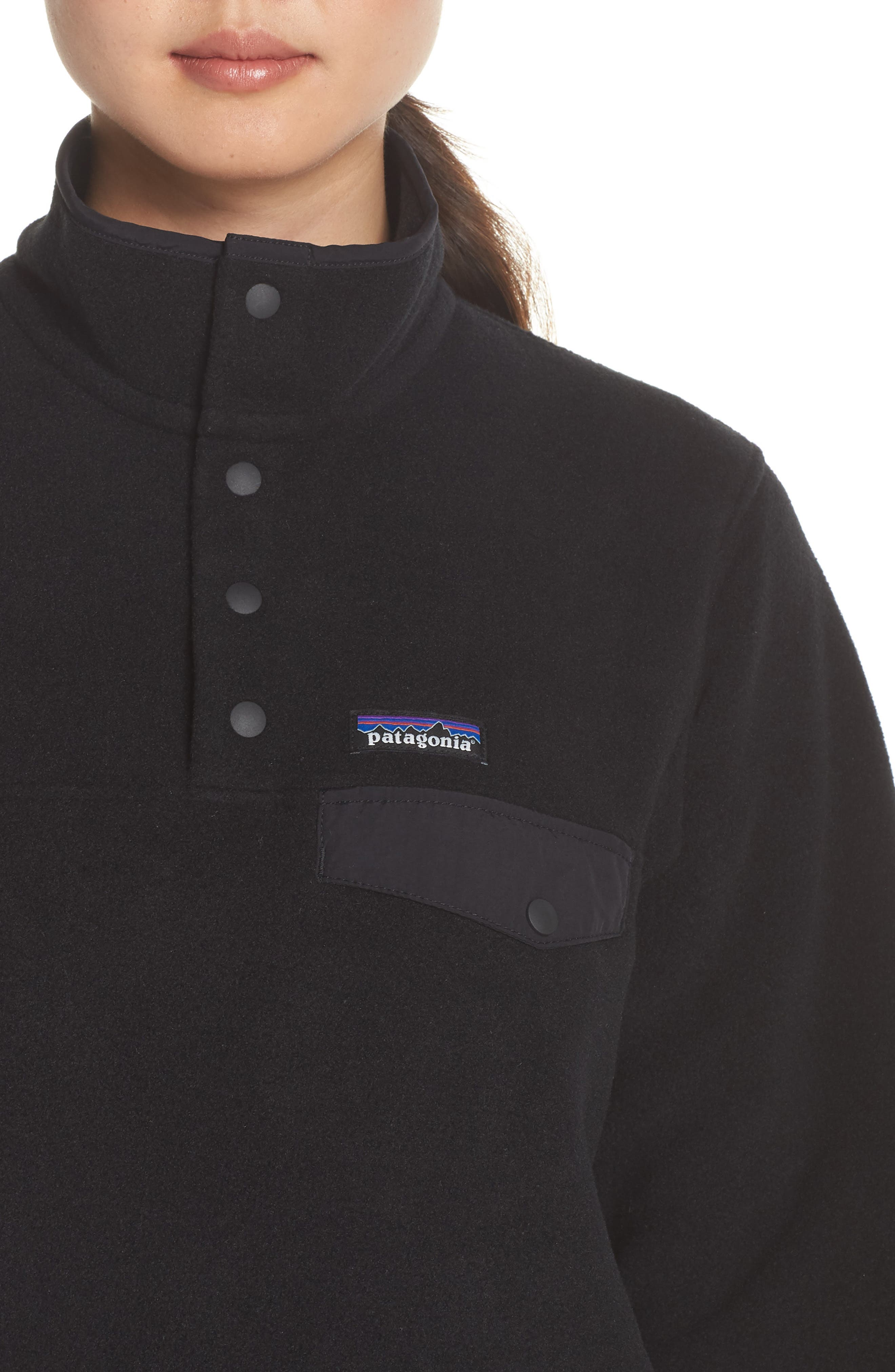 PATAGONIA,                             Synchilla Snap-T<sup>®</sup> Fleece Pullover,                             Alternate thumbnail 4, color,                             BLACK W/ BLACK