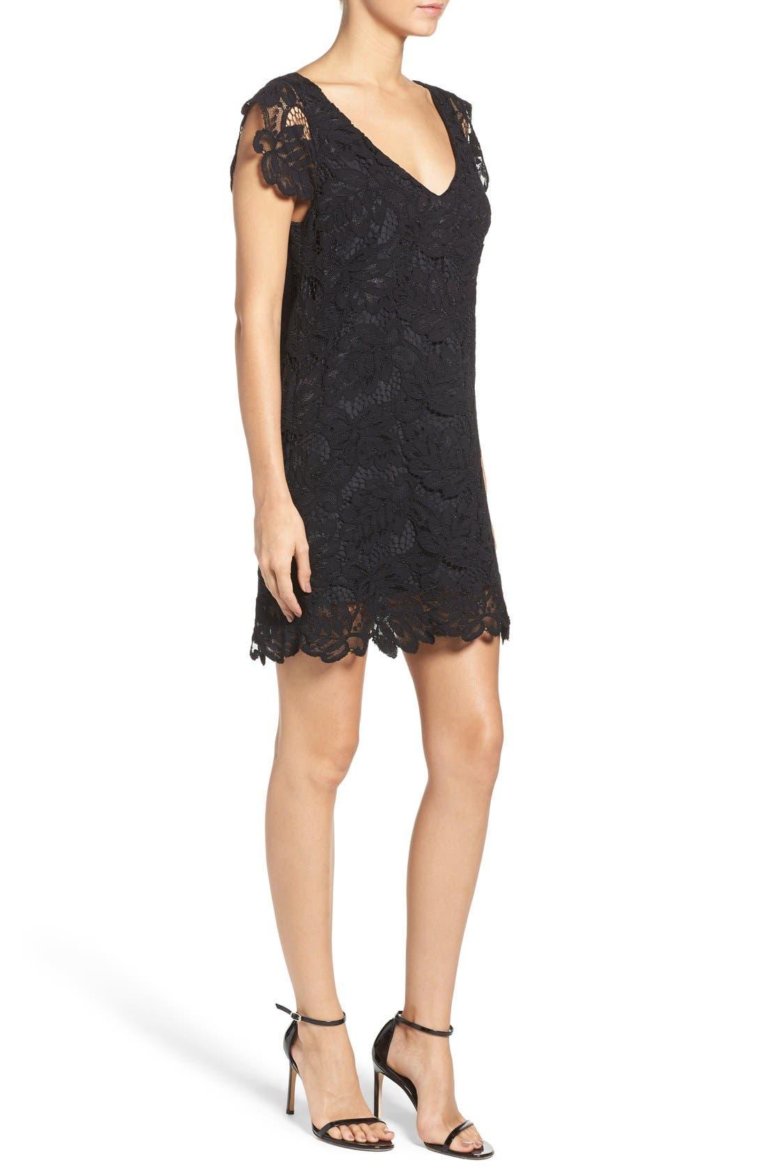 'Jacqueline' Lace Shift Dress,                             Alternate thumbnail 11, color,                             BLACK