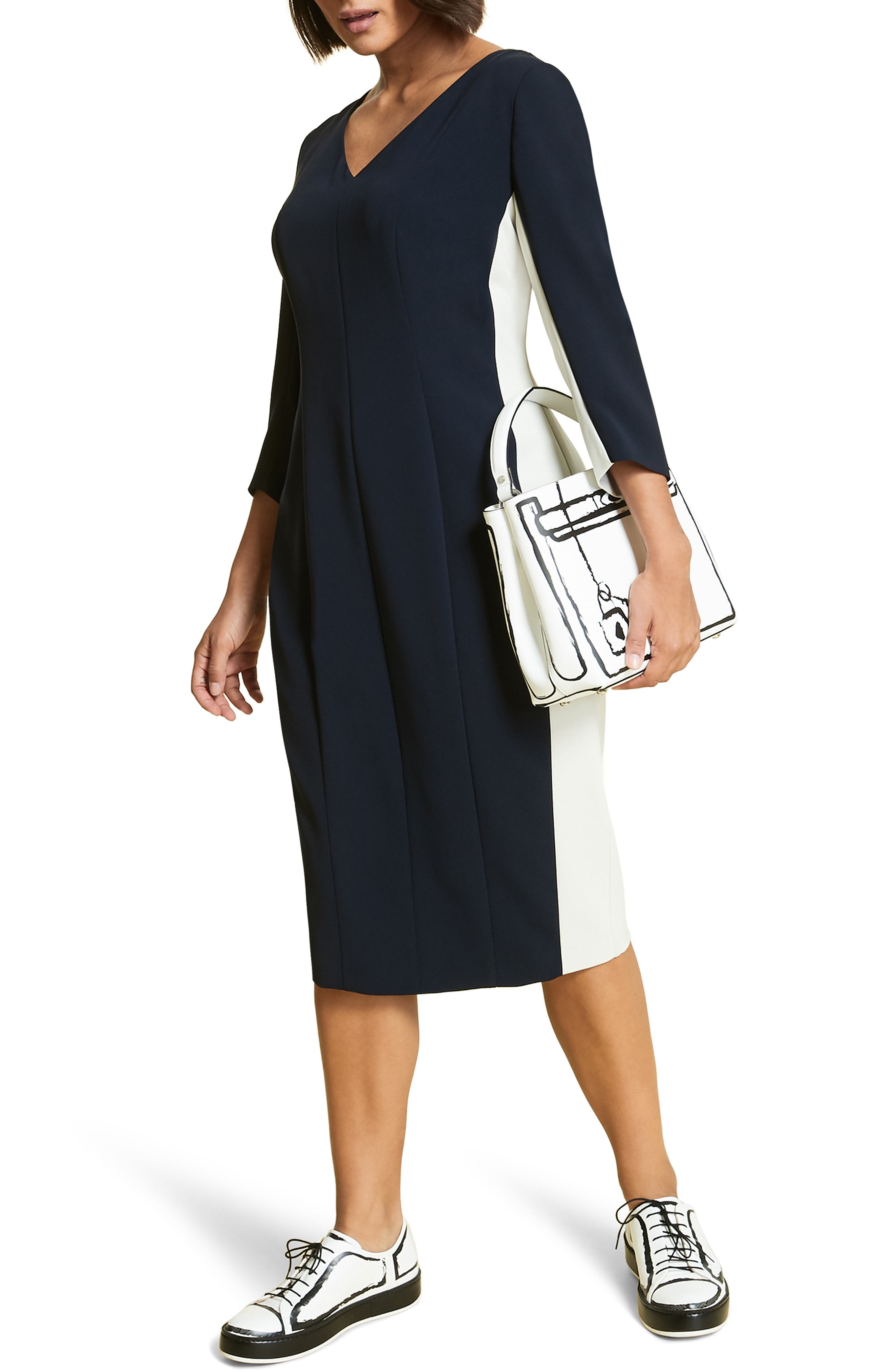 Plus Size Marina Rinaldi Dentro Colorblock Fitted Dress, Blue