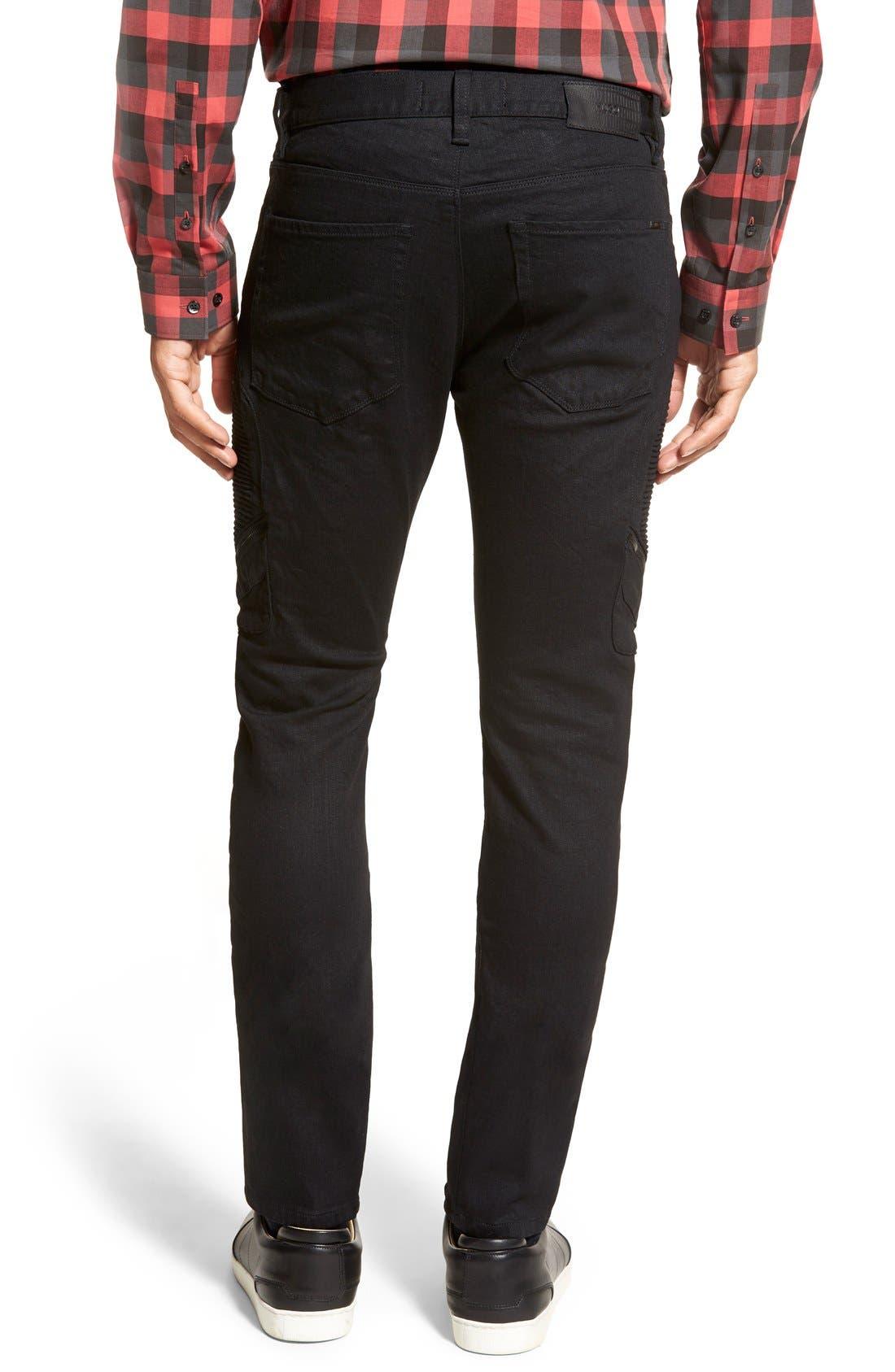 ZZDNUHUGO BOSS,                             HUGO '734/24' Skinny Fit Moto Jeans,                             Alternate thumbnail 4, color,                             001