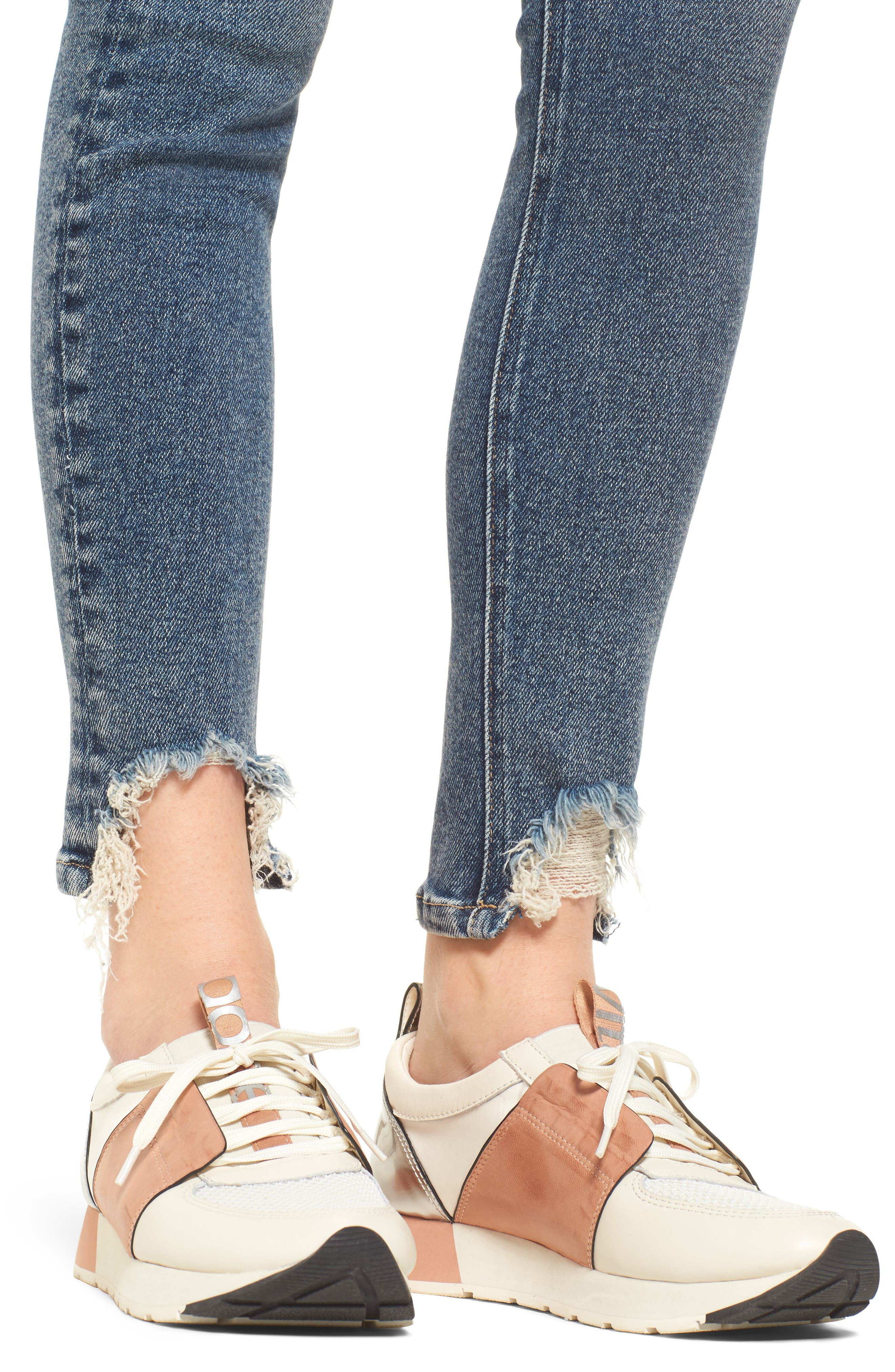 The Stiletto High Waist Ankle Skinny Jeans,                             Alternate thumbnail 4, color,                             458