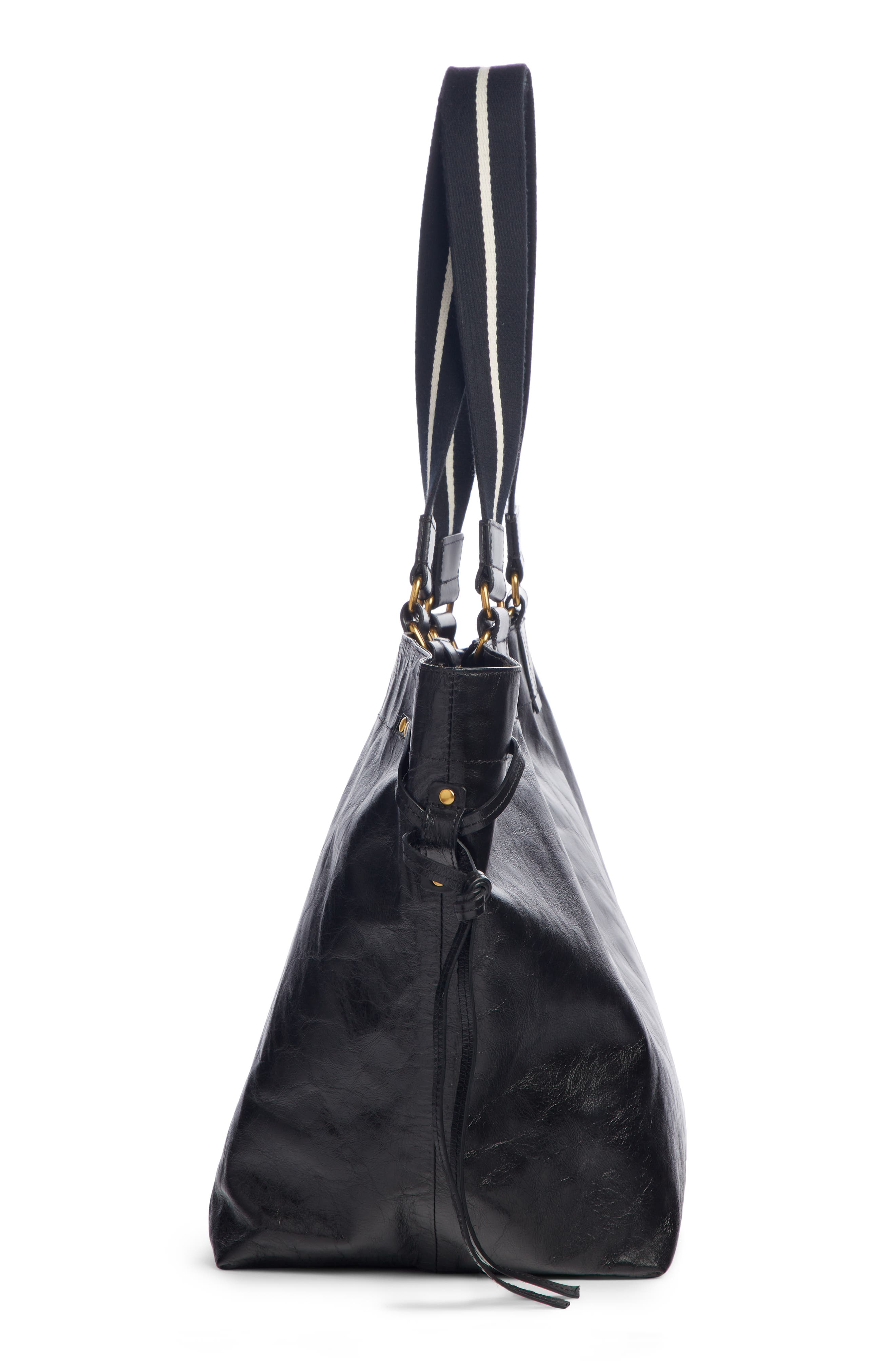 Wardy New Leather Shopper,                             Alternate thumbnail 5, color,                             BLACK