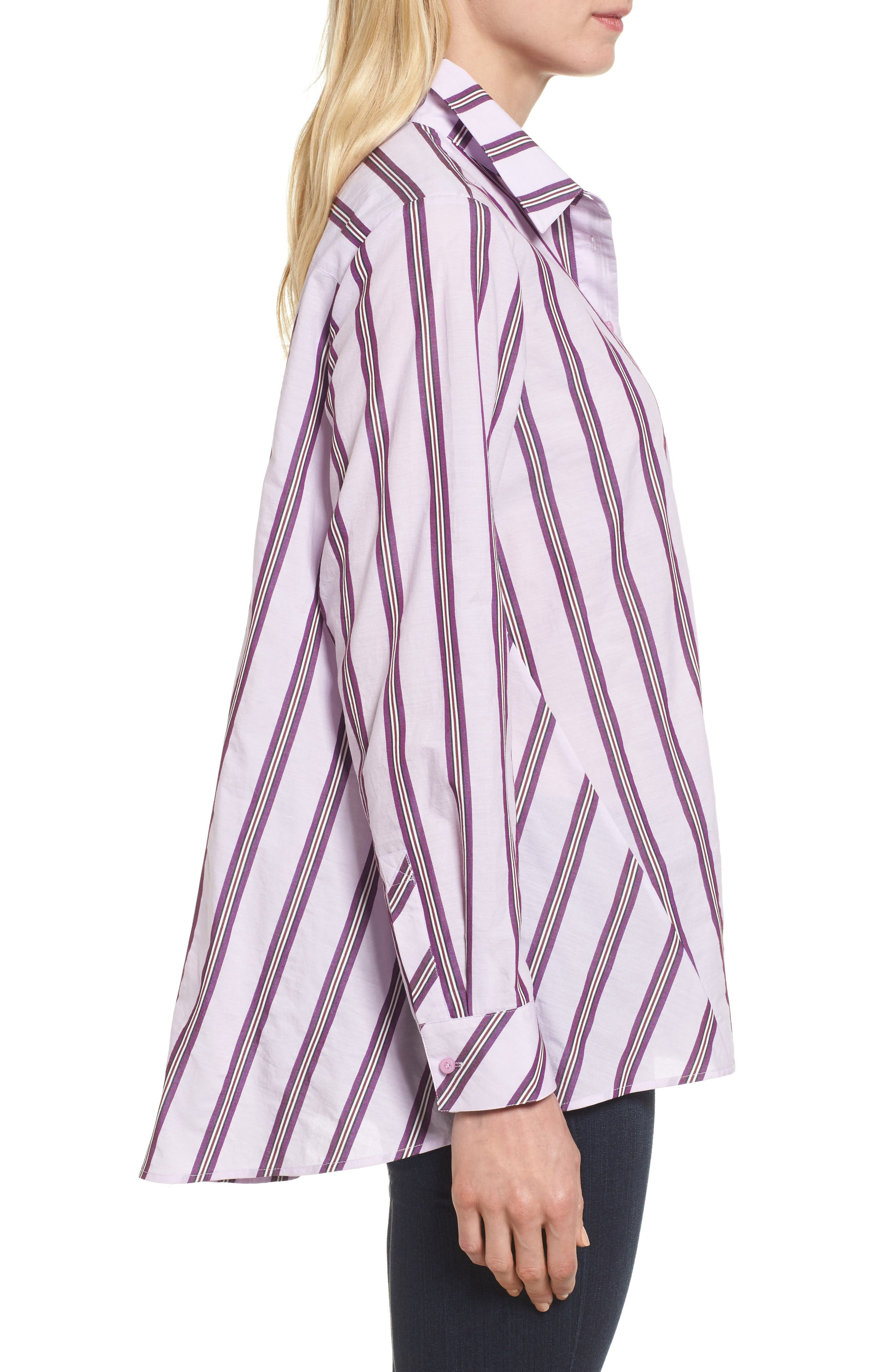 Oversize Stripe Shirt,                             Alternate thumbnail 3, color,                             680