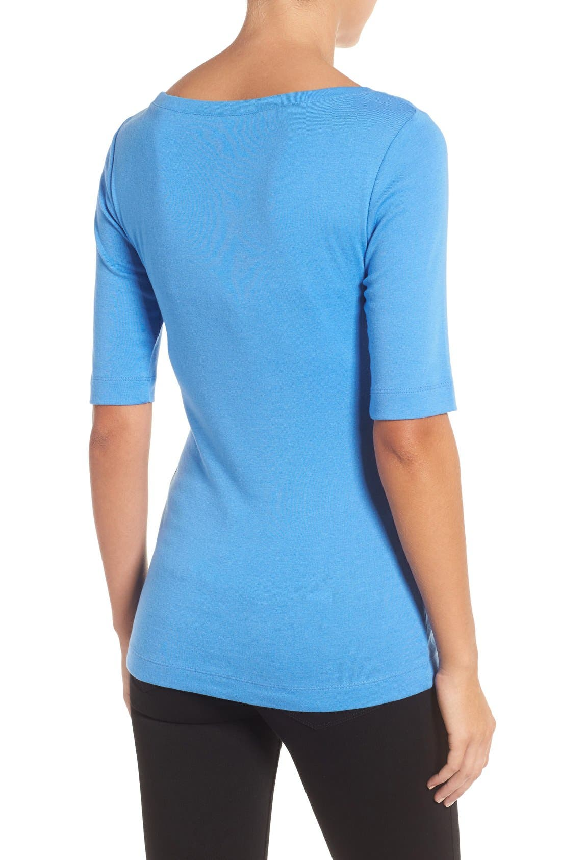 Ballet Neck Cotton & Modal Knit Elbow Sleeve Tee,                             Alternate thumbnail 248, color,
