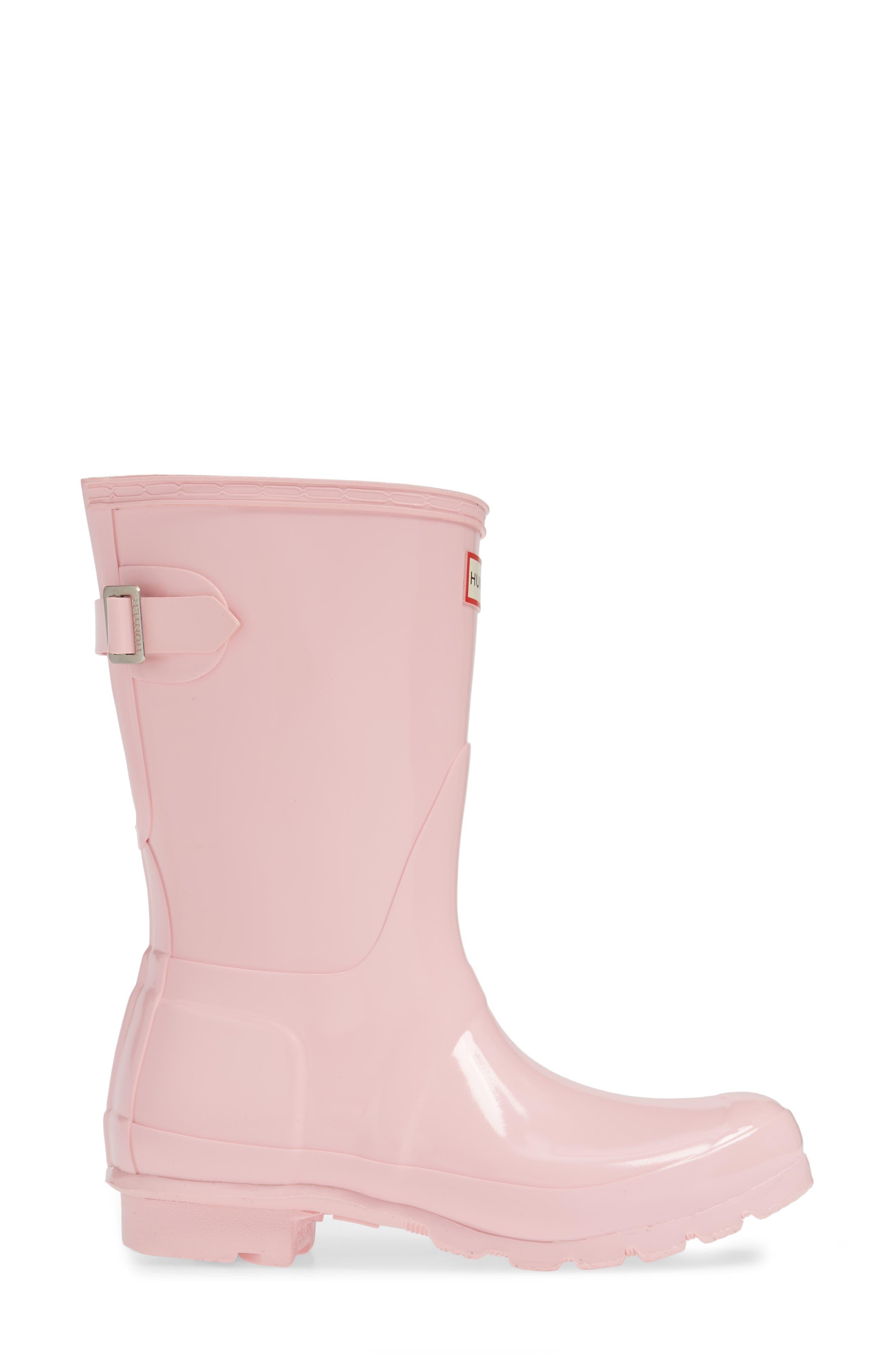 HUNTER,                             Original Short Adjustable Back Gloss Waterproof Rain Boot,                             Alternate thumbnail 3, color,                             CANDY FLOSS RUBBER