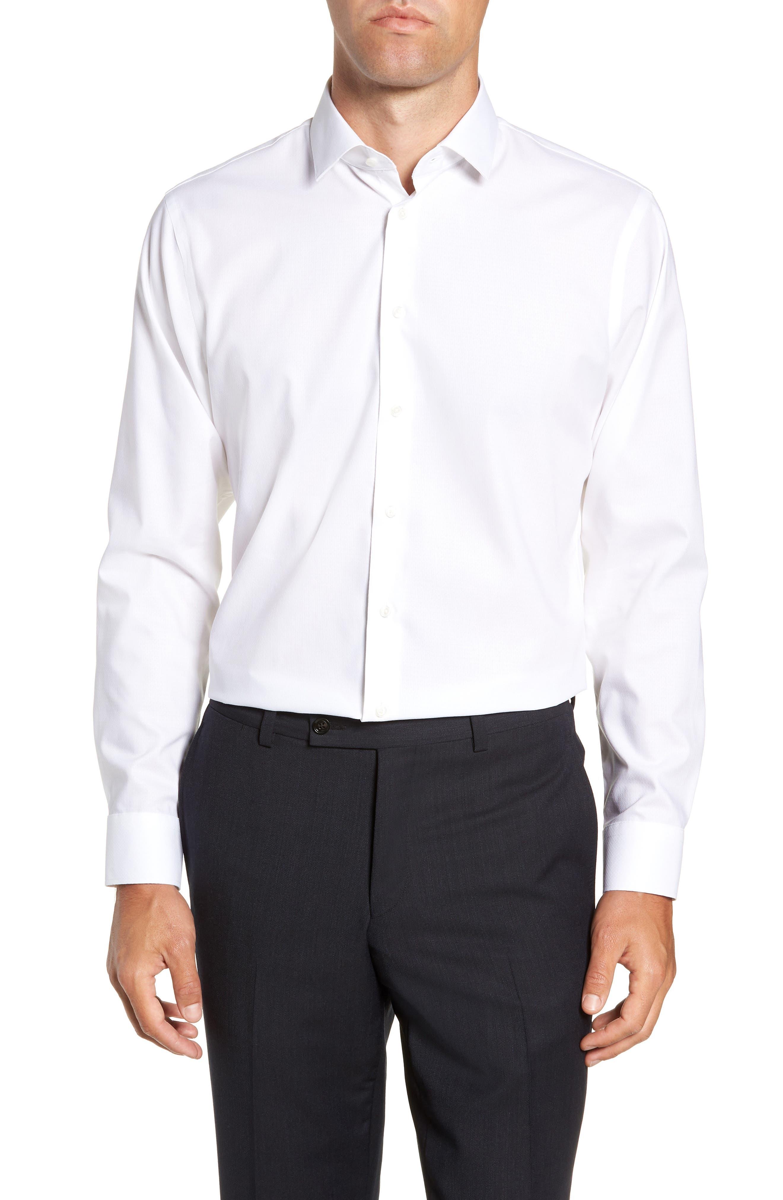 Trim Fit Stretch Solid Dress Shirt,                         Main,                         color, WHITE