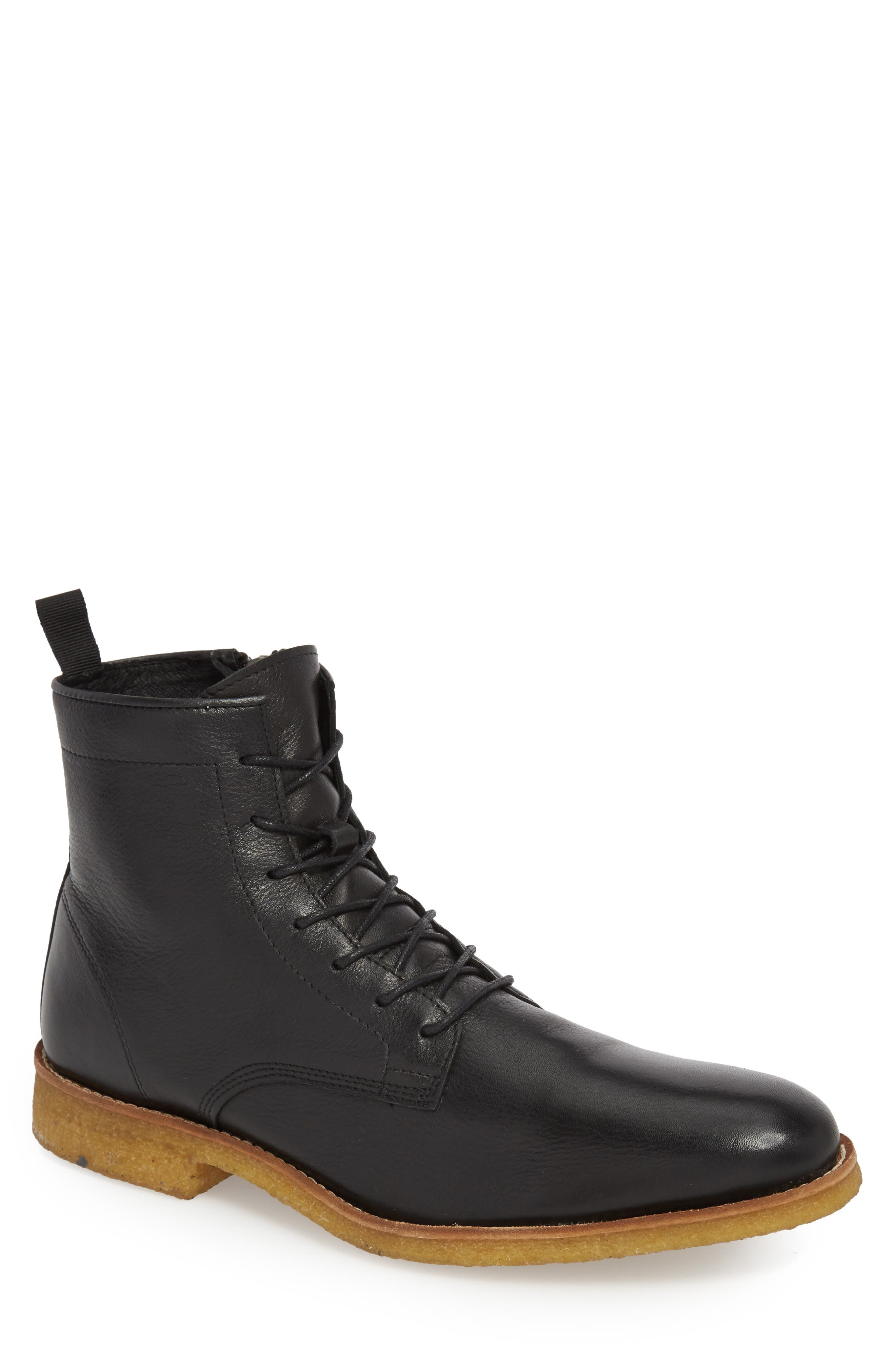 SUPPLY LAB Jonah Plain Toe Boot in Black Leather