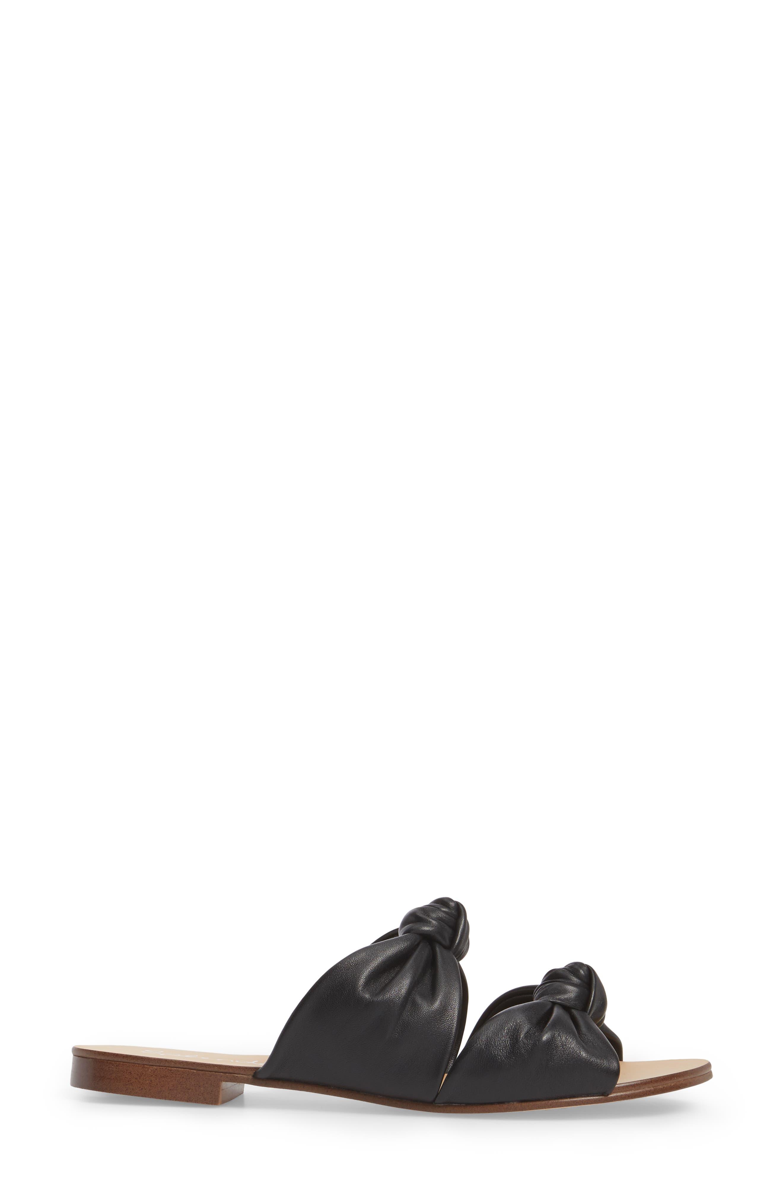Barton Double Knotted Slide Sandal,                             Alternate thumbnail 3, color,                             BLACK LEATHER