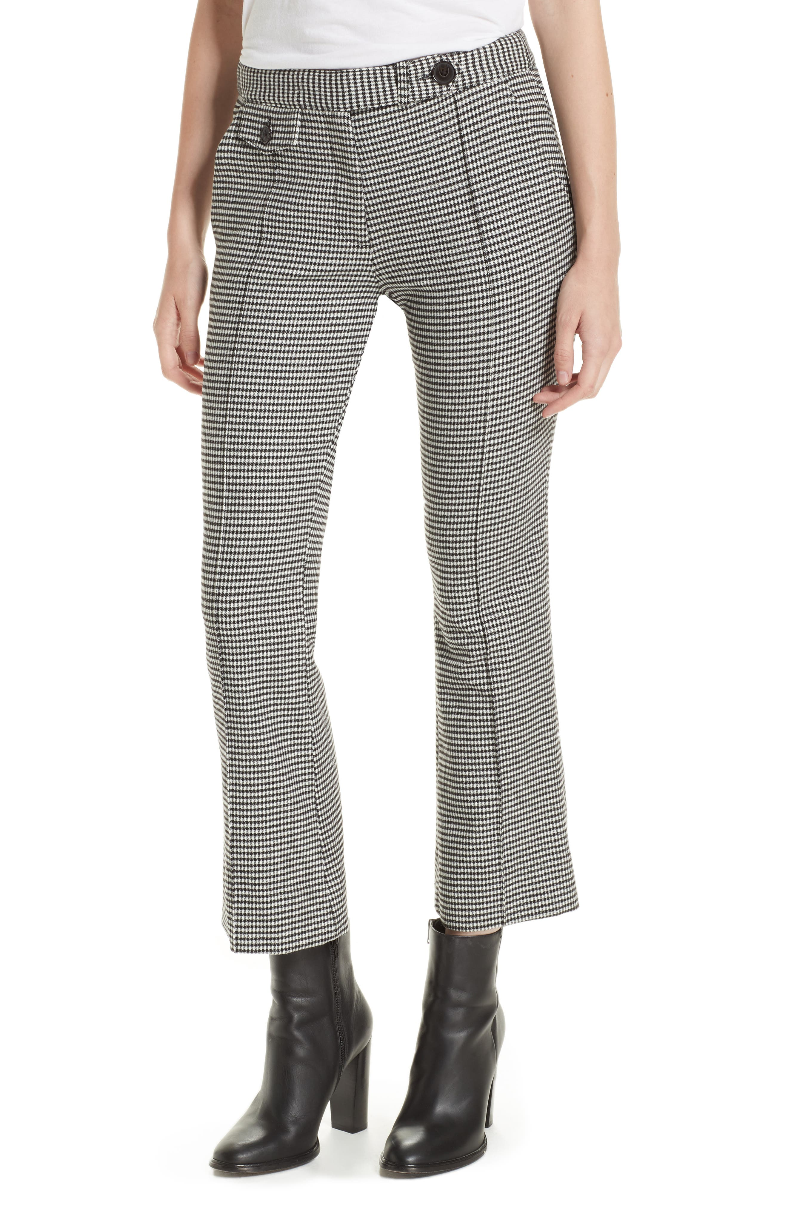 Flannel Plaid Crop Flare Trousers in Black-White