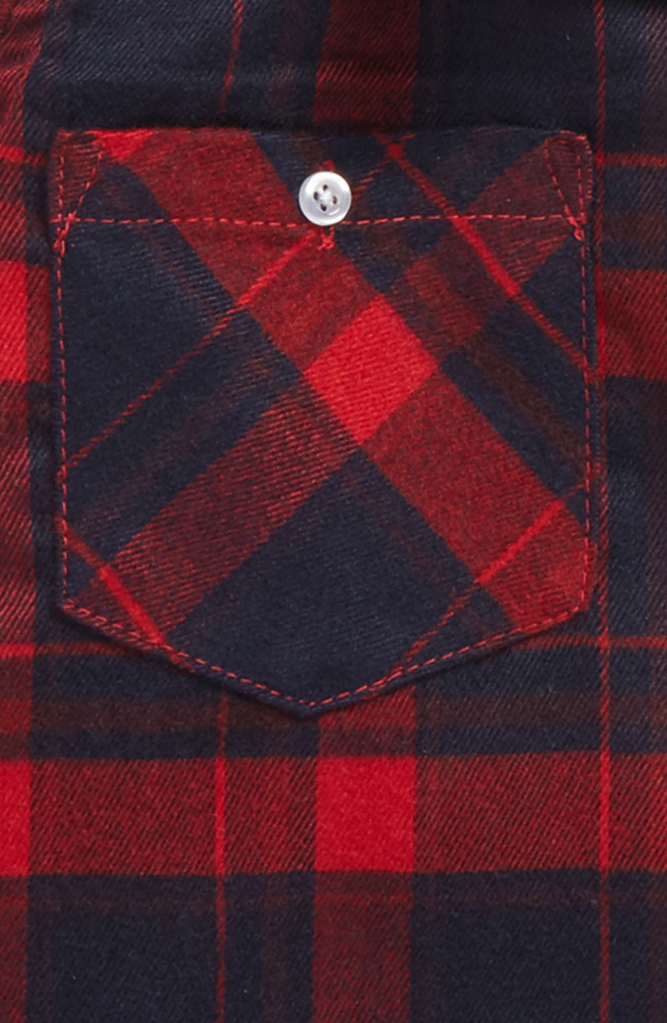 Andy & Even Hooded Flannel Shirt,                             Alternate thumbnail 2, color,