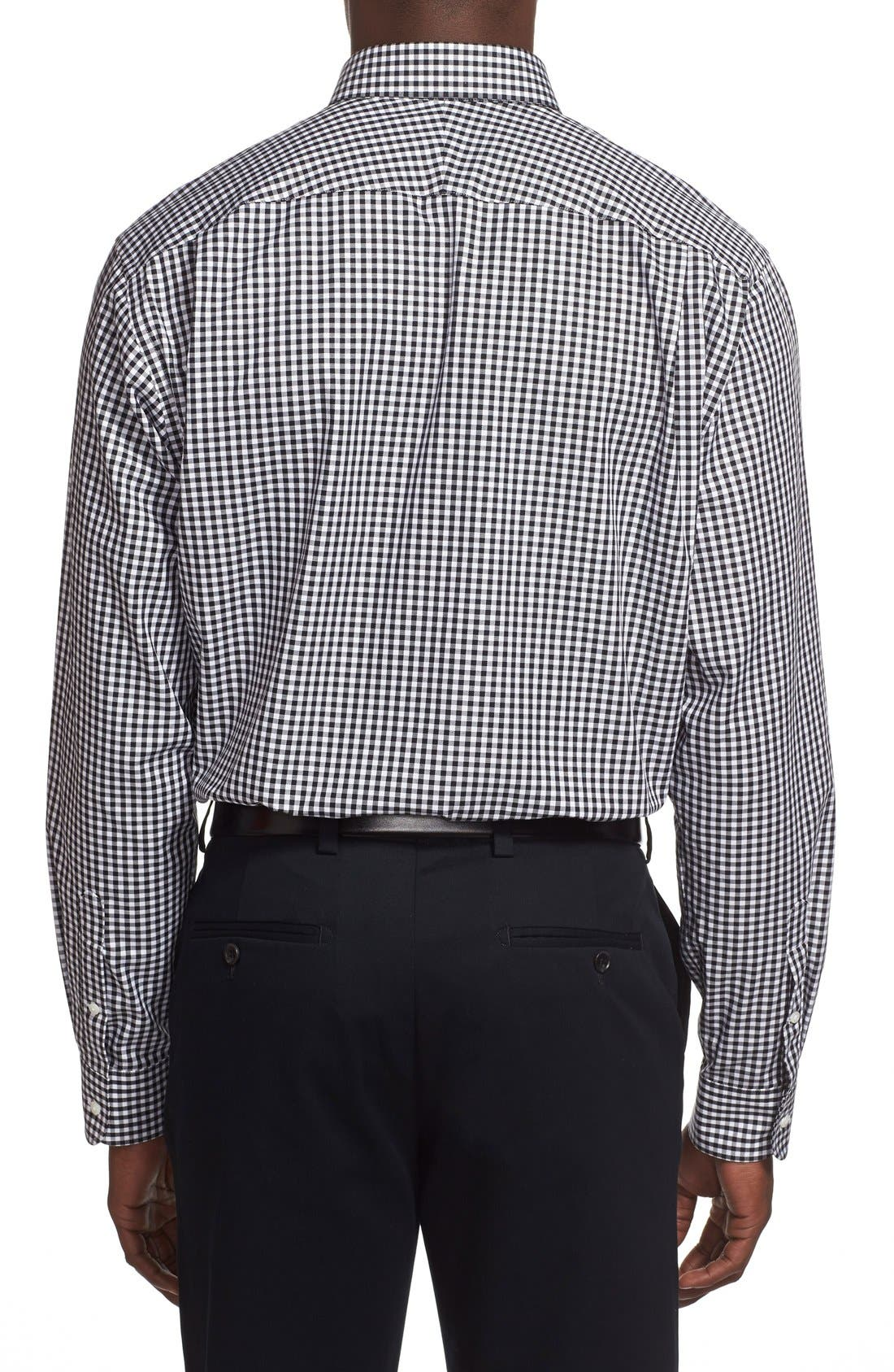 Classic Fit Non-Iron Gingham Dress Shirt,                             Alternate thumbnail 6, color,                             BLACK ROCK